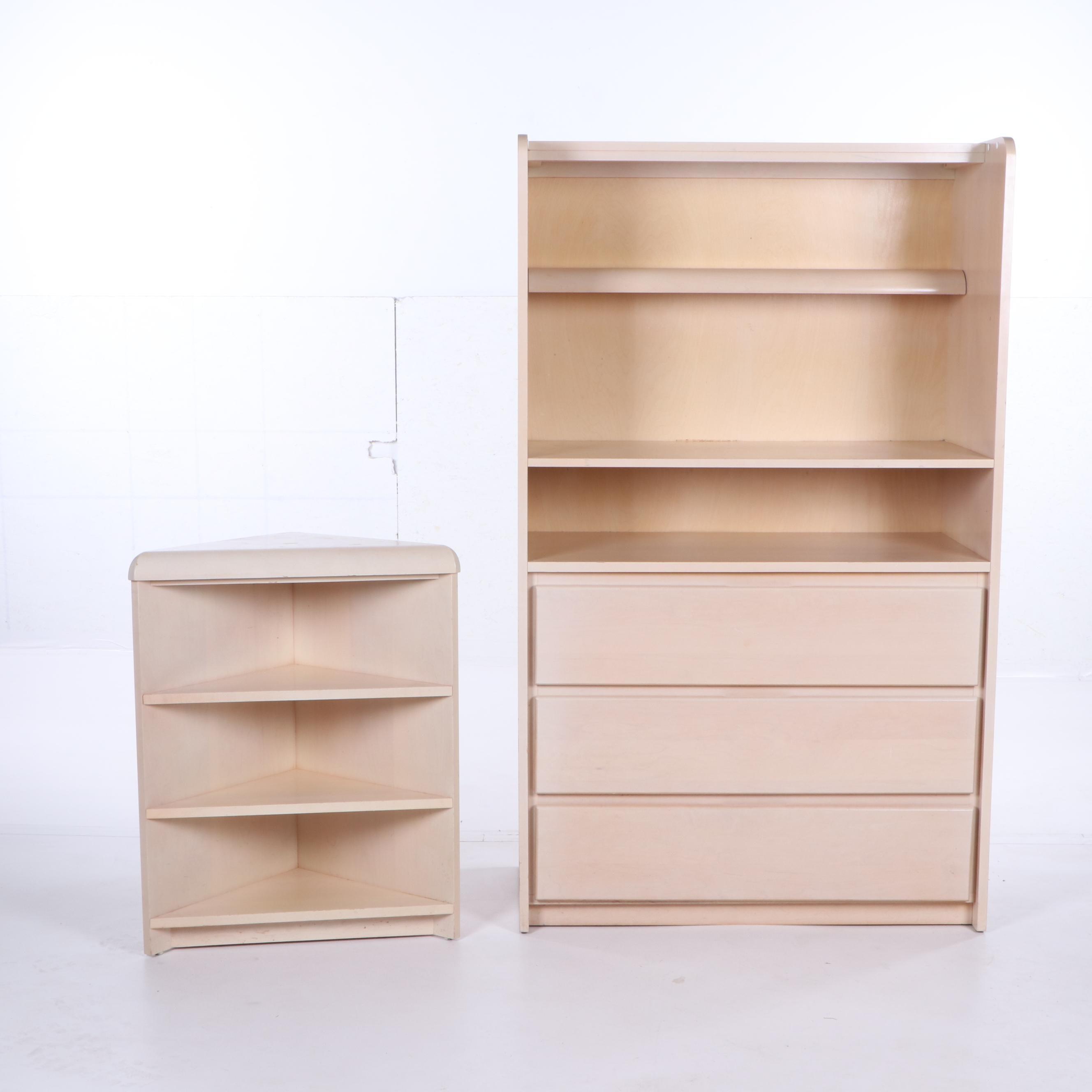 Contemporary Bookcase over Bureau and Corner Bookcase