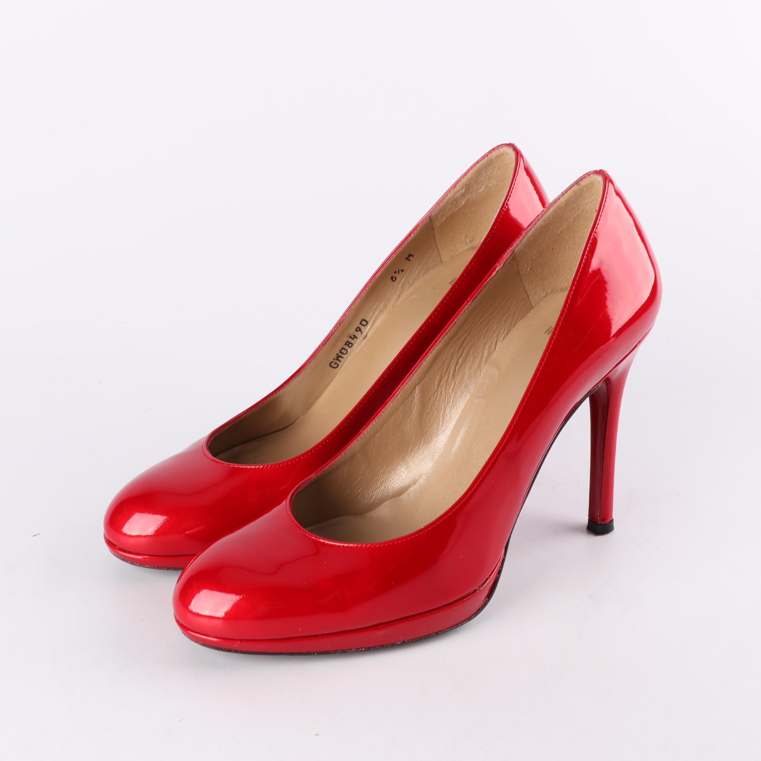 Women's Stuart Weitzman Red Patent Leather Platform Pumps