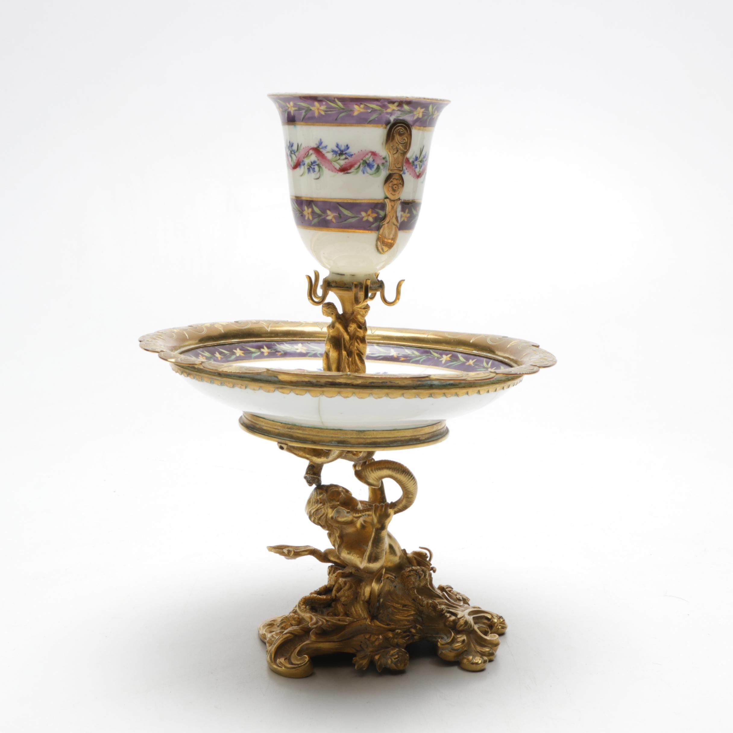 Cast Bronze and Porcelain Figural Tazza Epergne, 19th Century