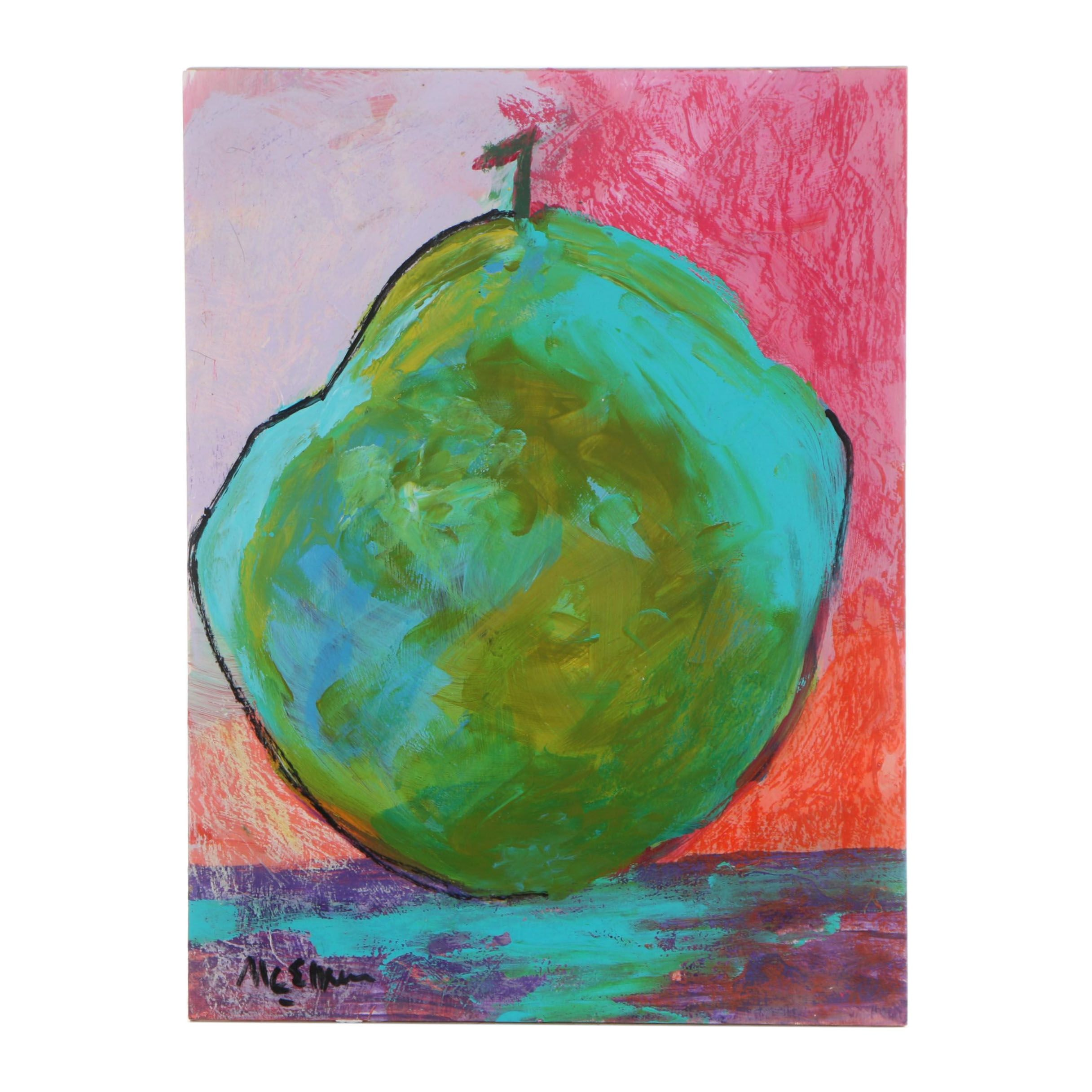 "Claire McElveen Mixed Media Painting ""Pear Abstract"""