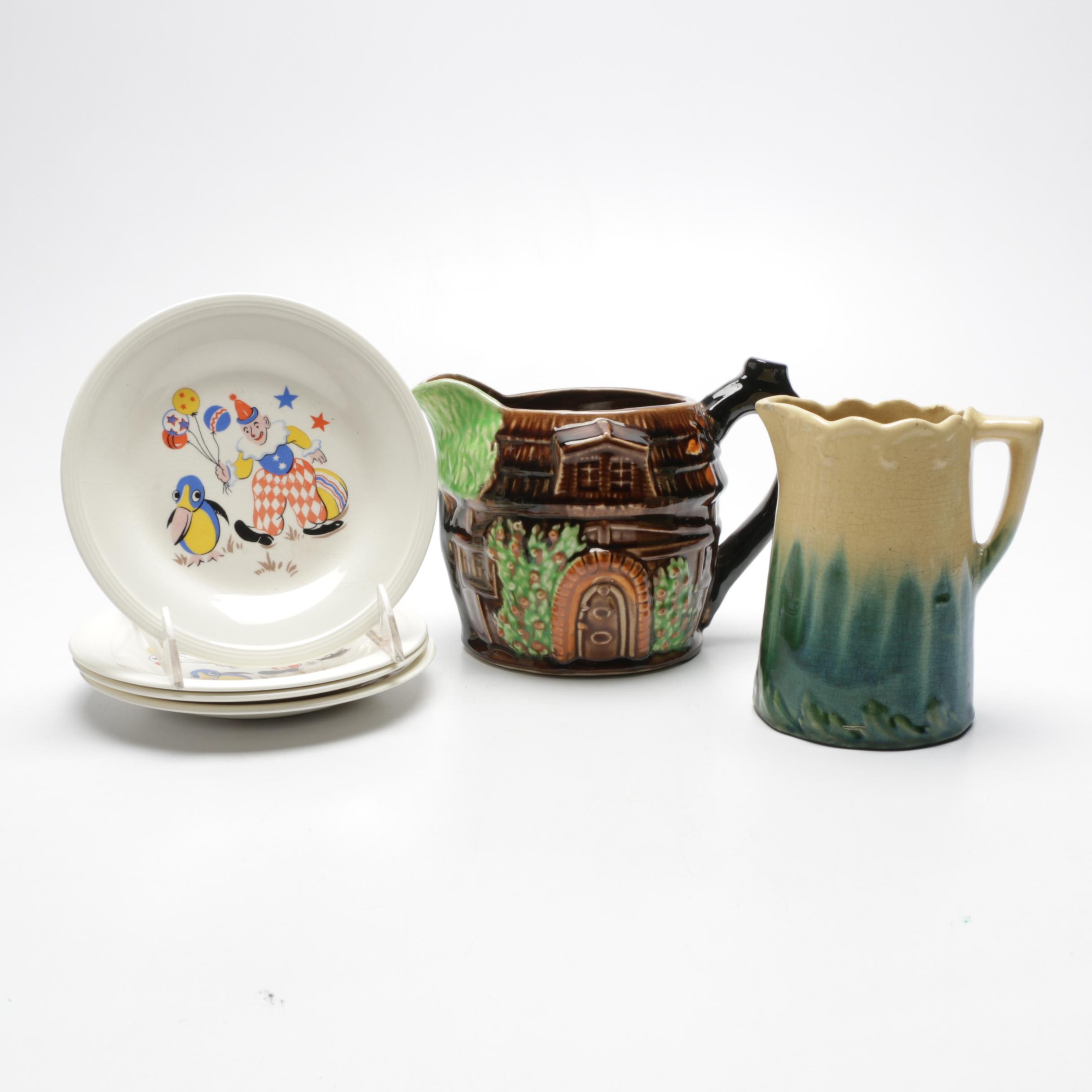 Majolica Pitchers with Mid-Century Juvenile Plate