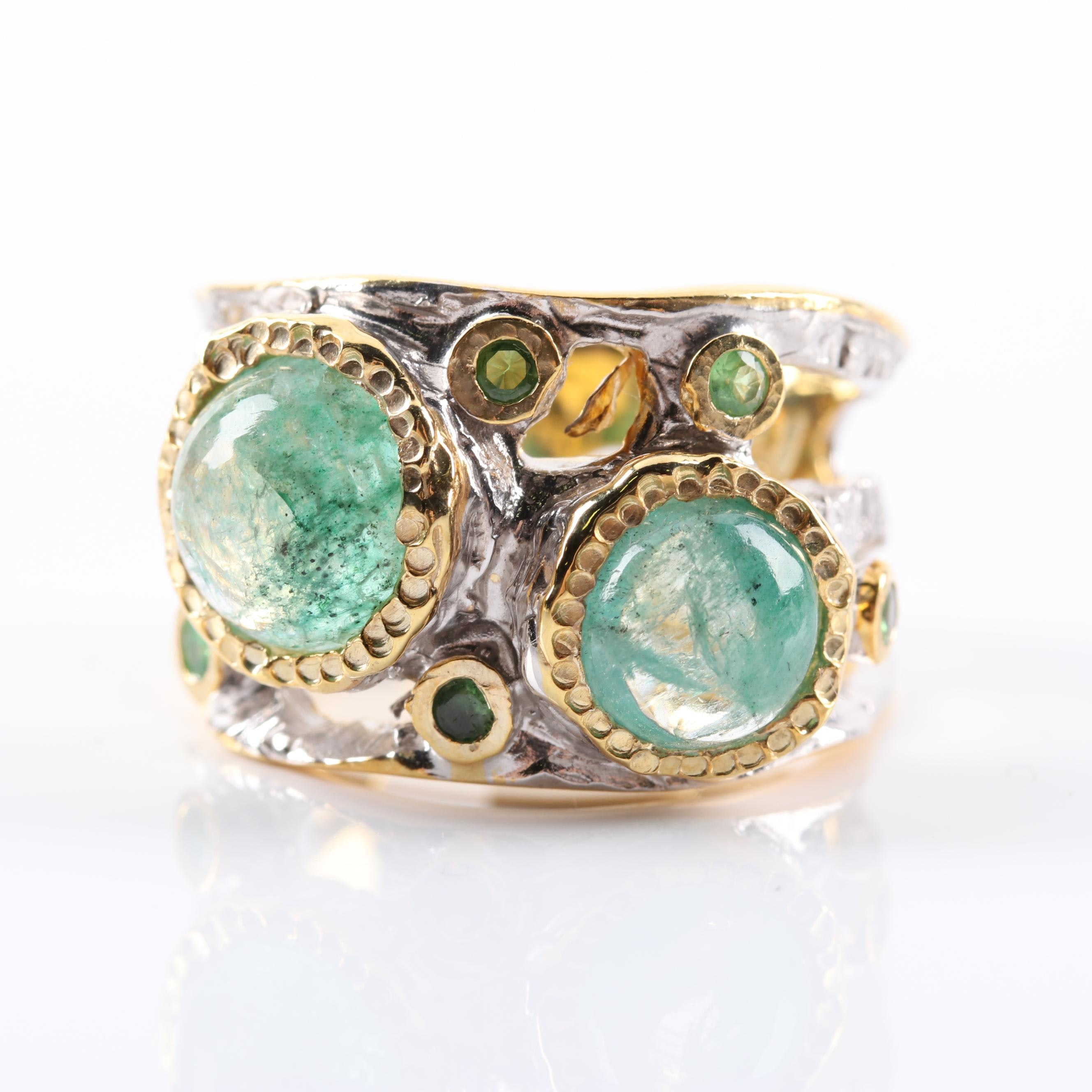 Sterling Silver 3.45 CTW Emerald and Peridot Ring With Gold Wash Details