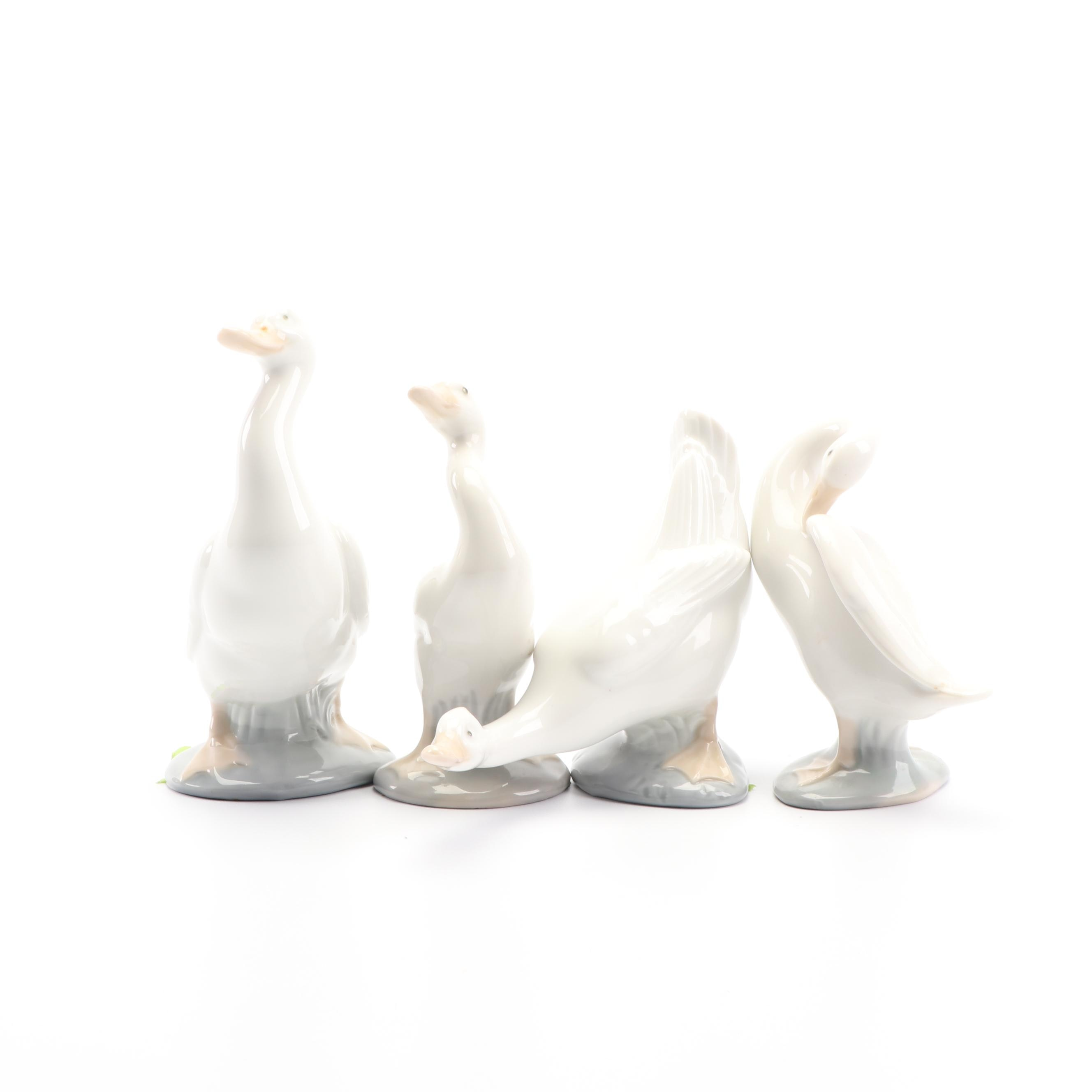 "Lladró and Nao ""Little Duck"" Spanish Porcelain Figurines, Late 1970s"