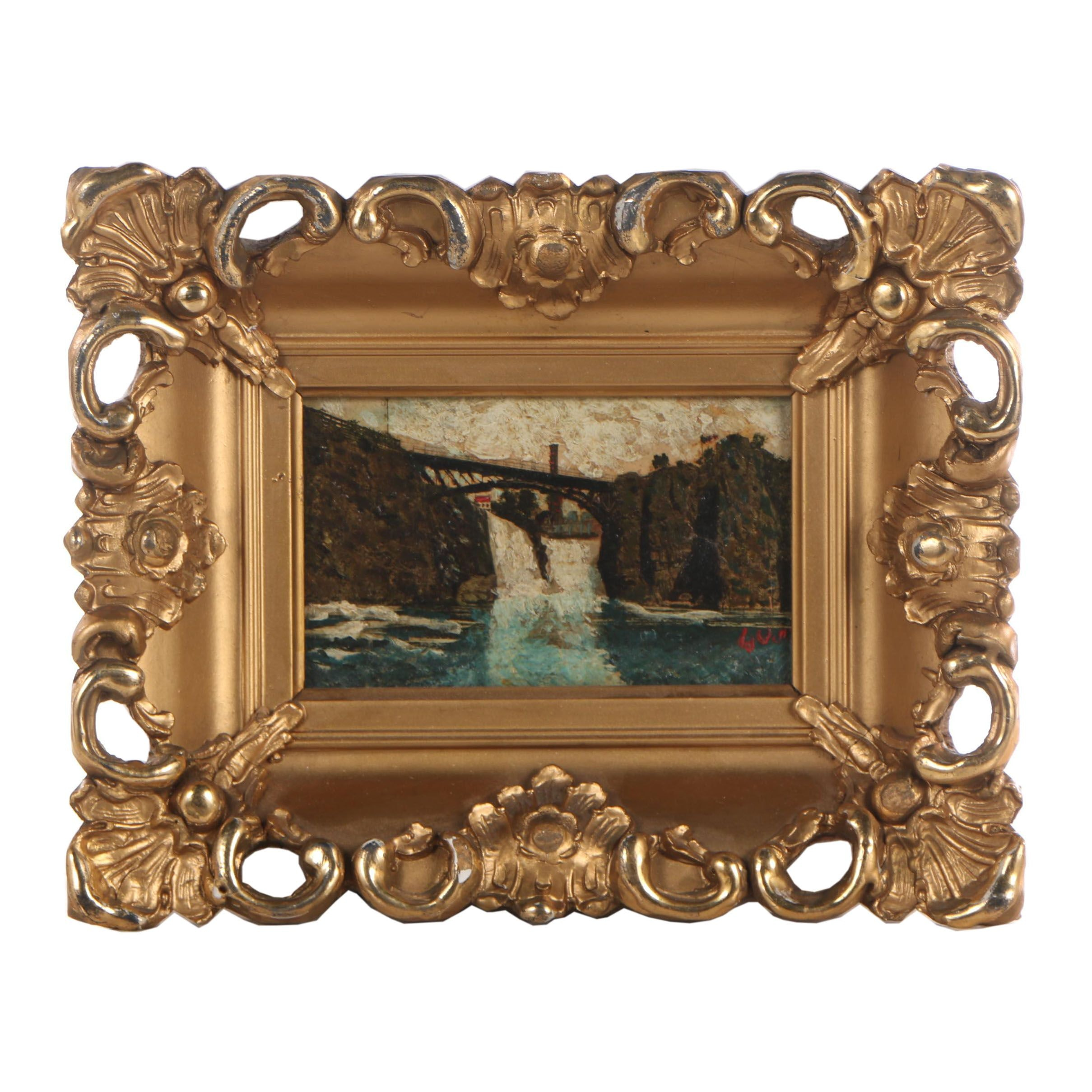 "Miniature Oil Painting on Halftone Print ""Pasaic Falls"""