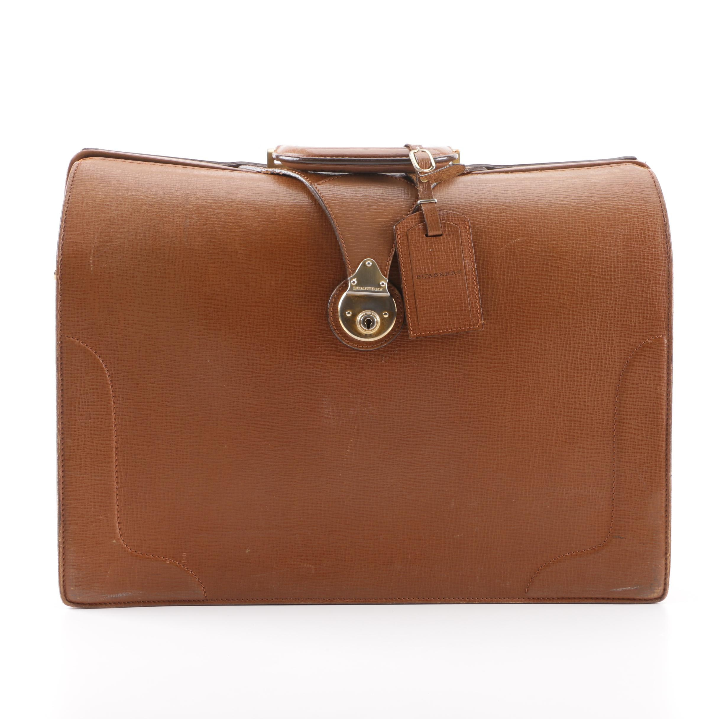 2000 Burberry London Brown Leather Doctor's Satchel Briefcase