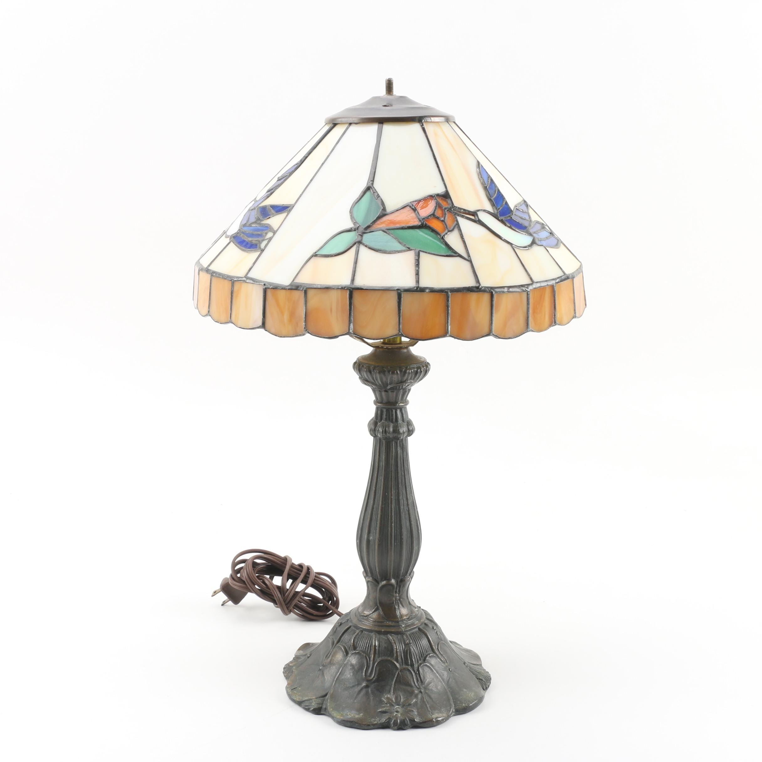 Cast Metal Table Lamp with Hummingbird and Flower Stained Glass Shade