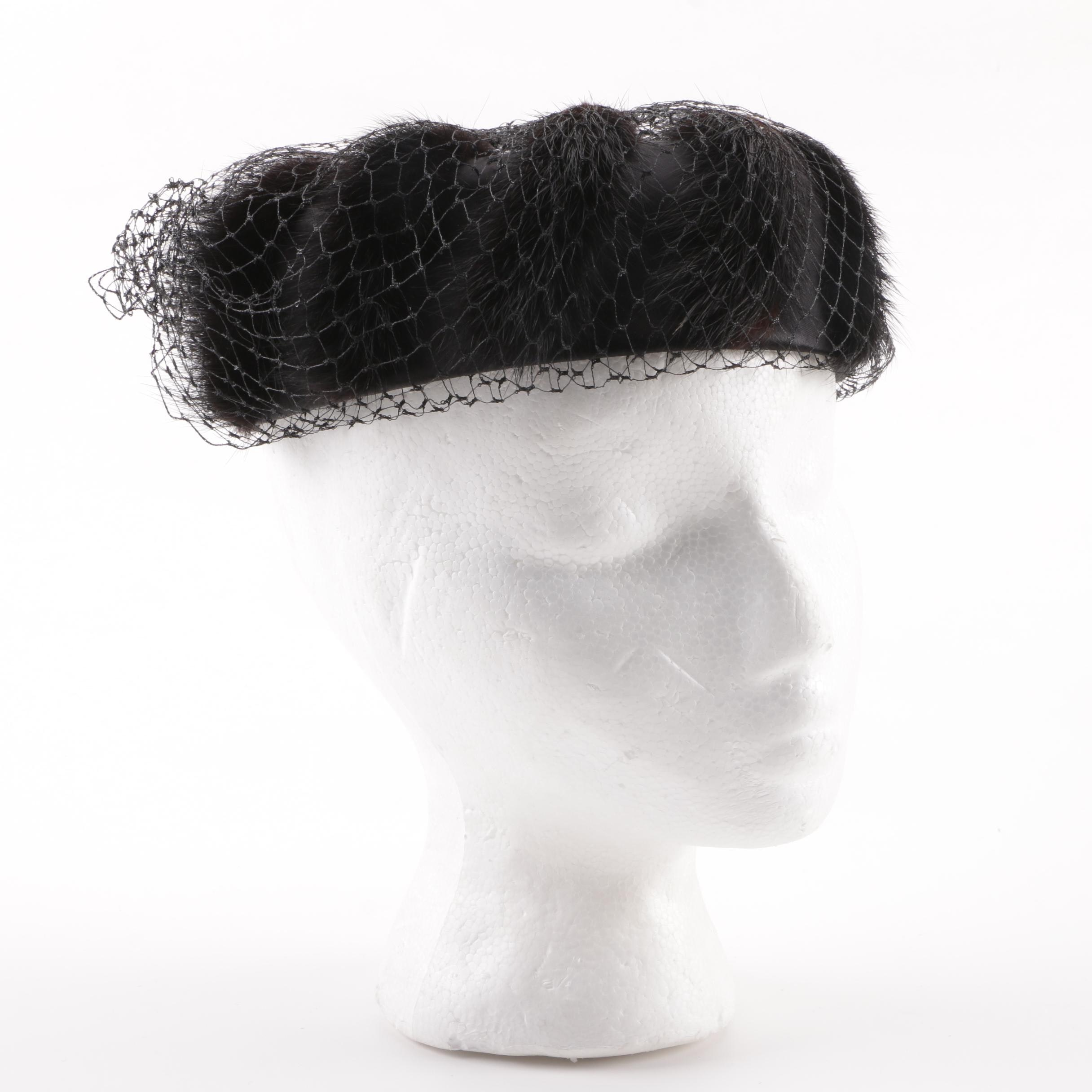 Circa 1950s Black Netted Fascinator with Mink Fur Detail and Hat Box