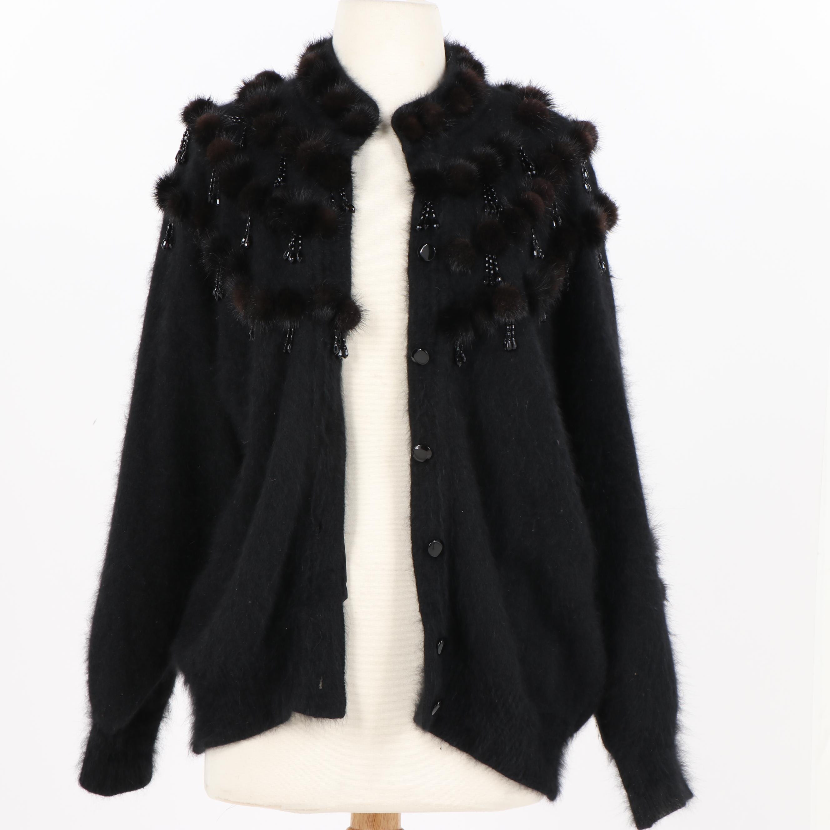 Women's Black Mohair Cardigan Sweater with Mink Fur Trim and Beads