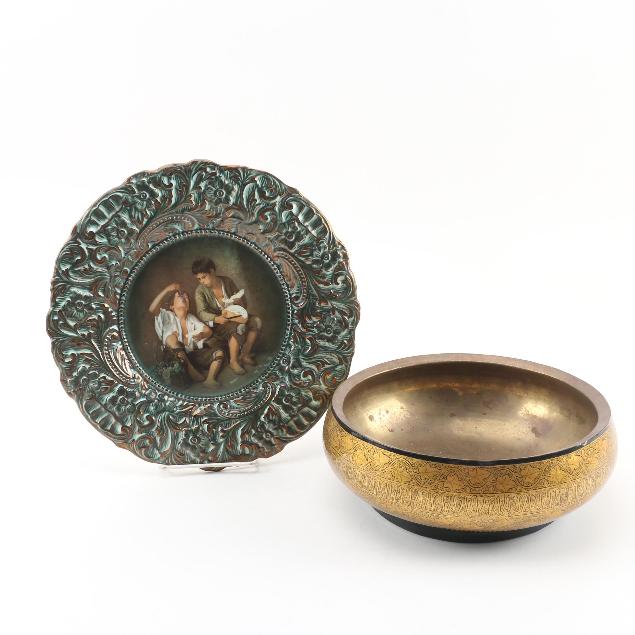 Martan Portuguese Hand-Painted Ceramic Plate with Lacquered Papier Mâché Bowl
