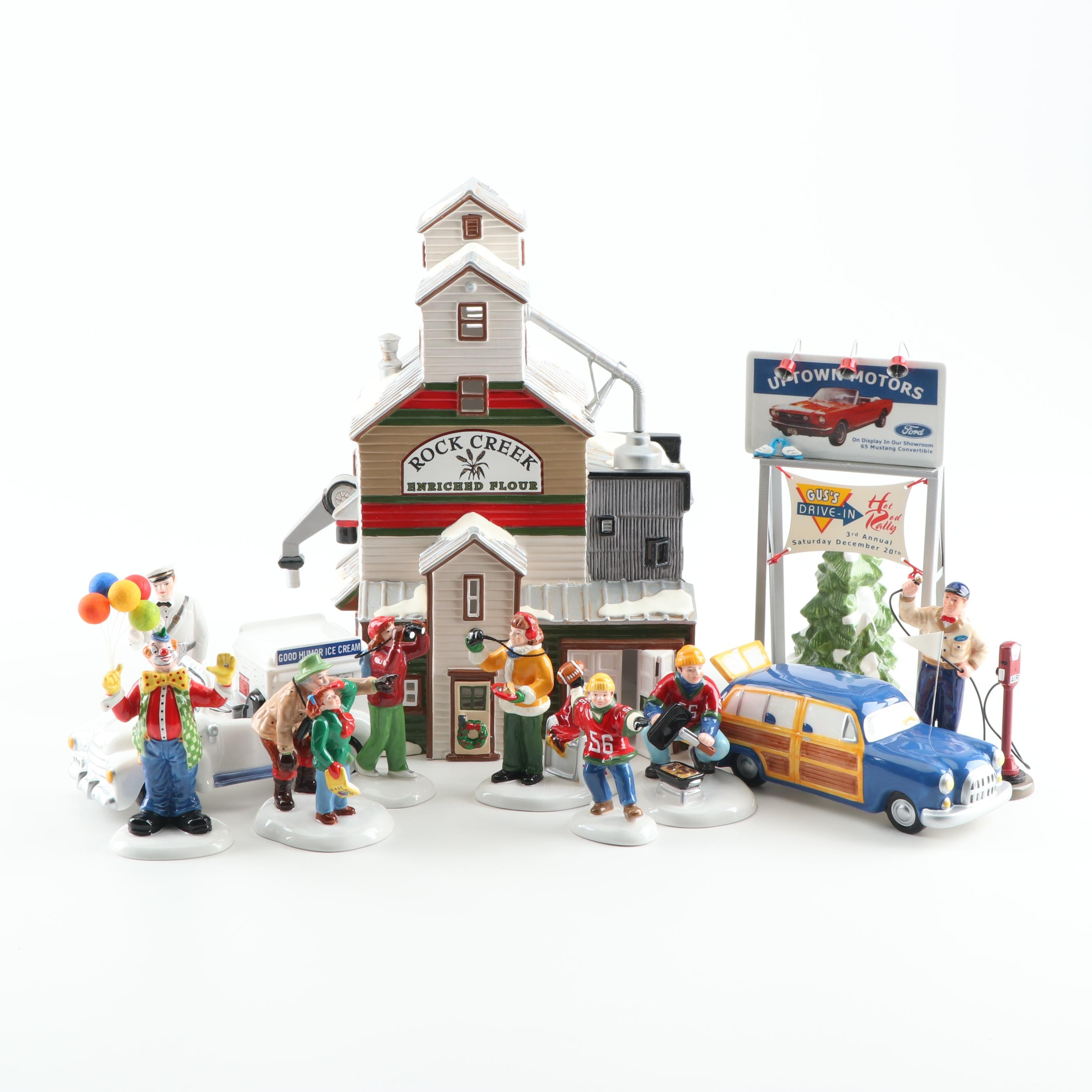 """Department 56 """"The Farmer's Co-Op Granary"""" with Figurines and Accessories"""