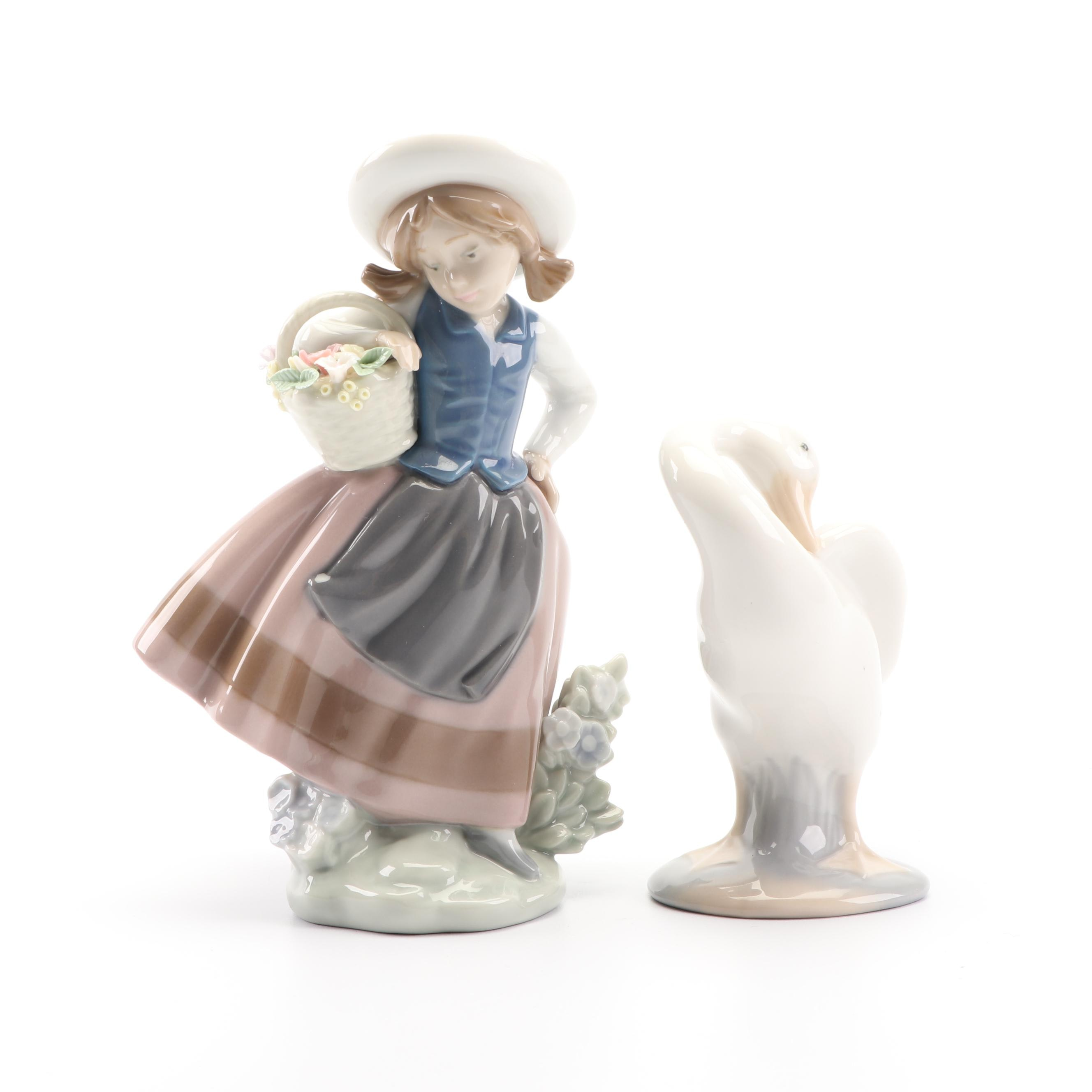 "Lladró ""Sweet Scent"" and ""Little Duck"" Porcelain Figurines"