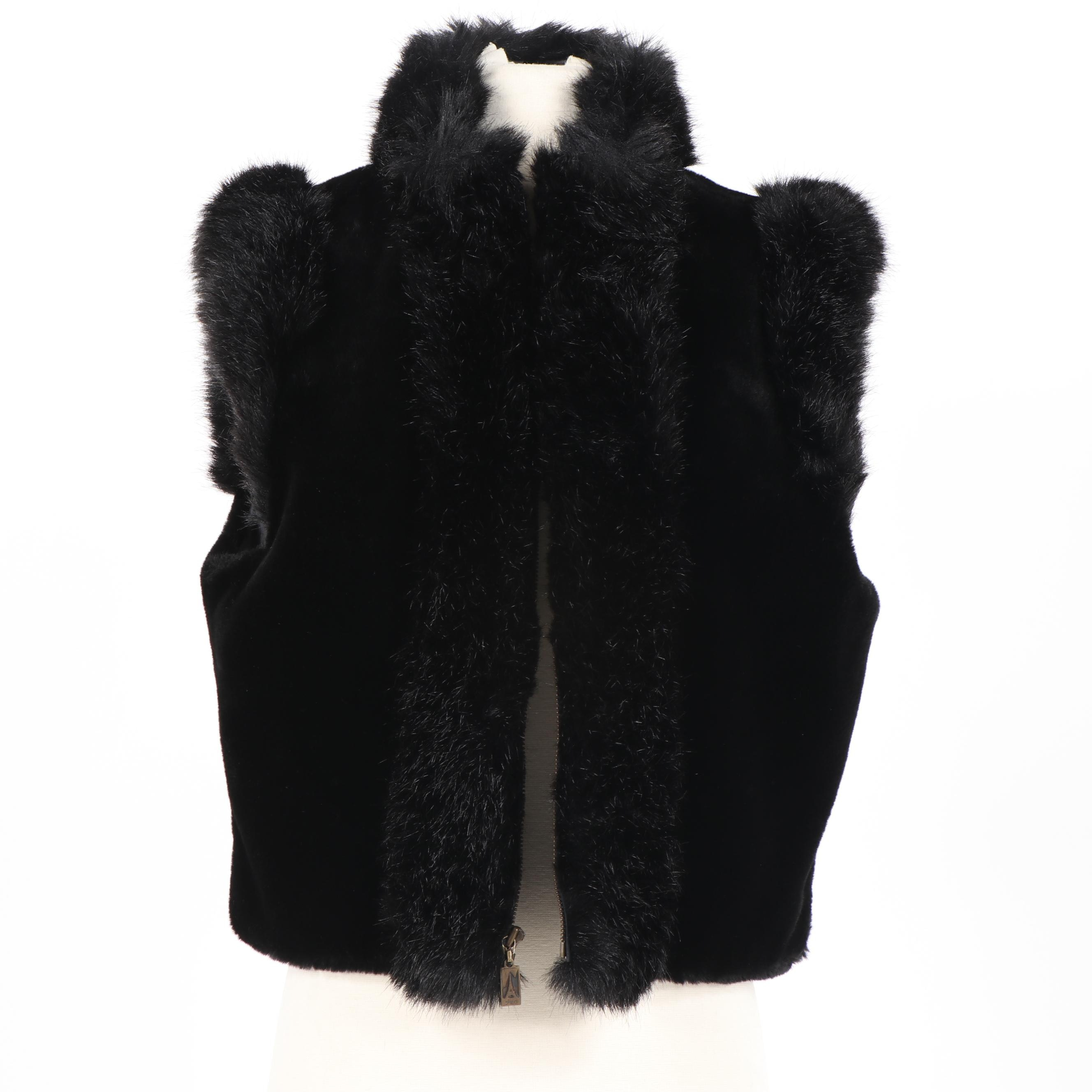 Women's Skea Black Faux Fur Vest