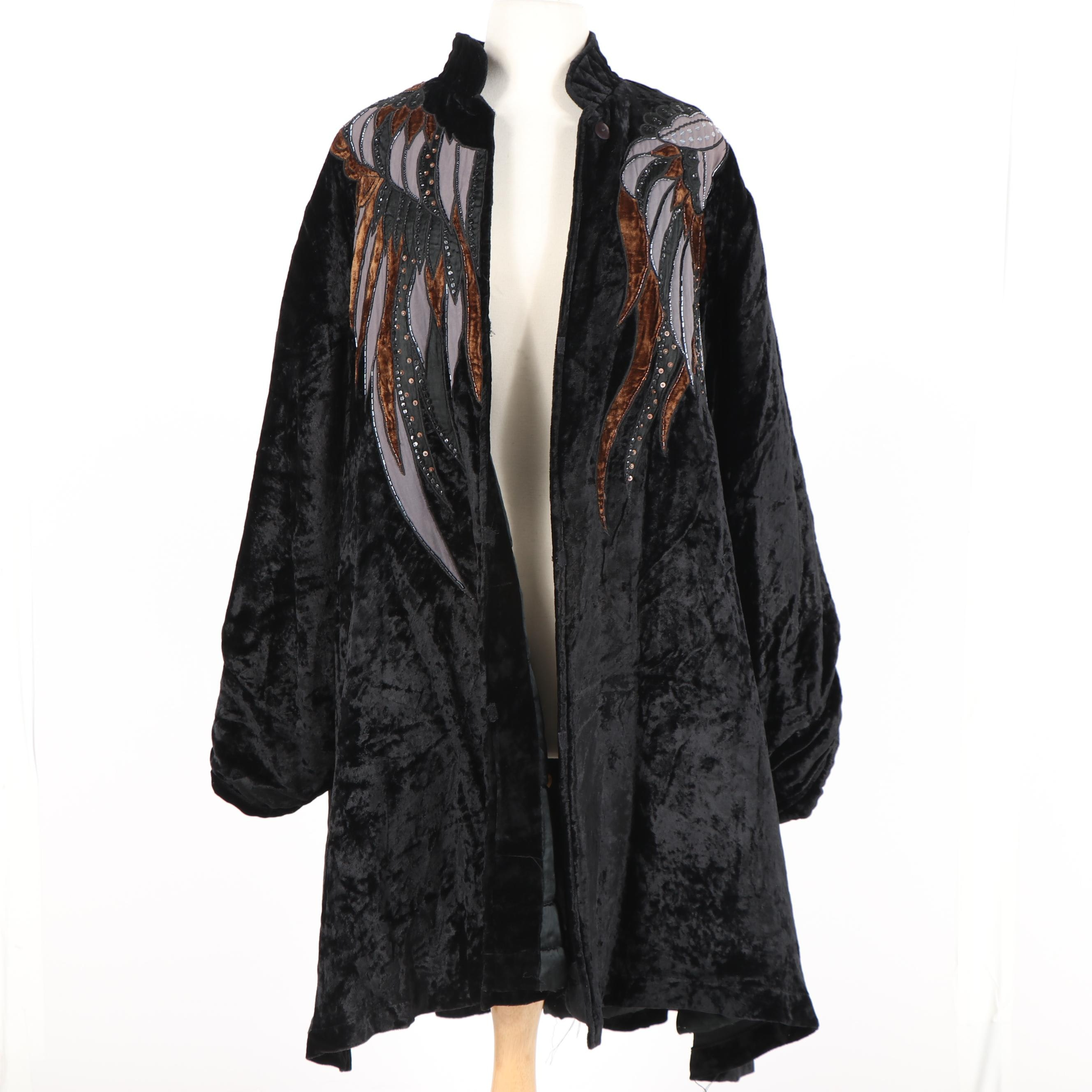 Women's JA Resort Embellished Black Crushed Velour Swing Coat