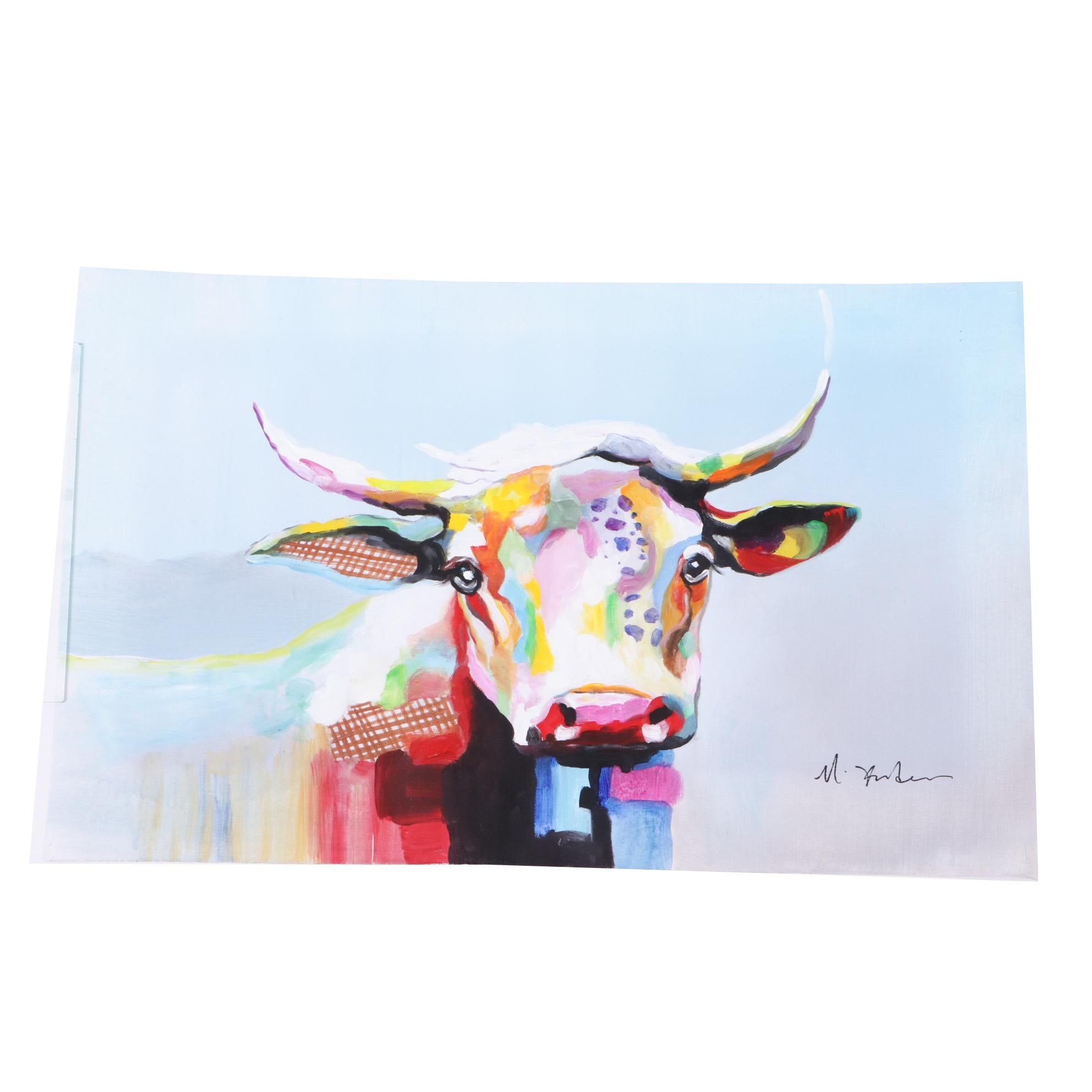 Mixed Media Painting of a Colorful Cow