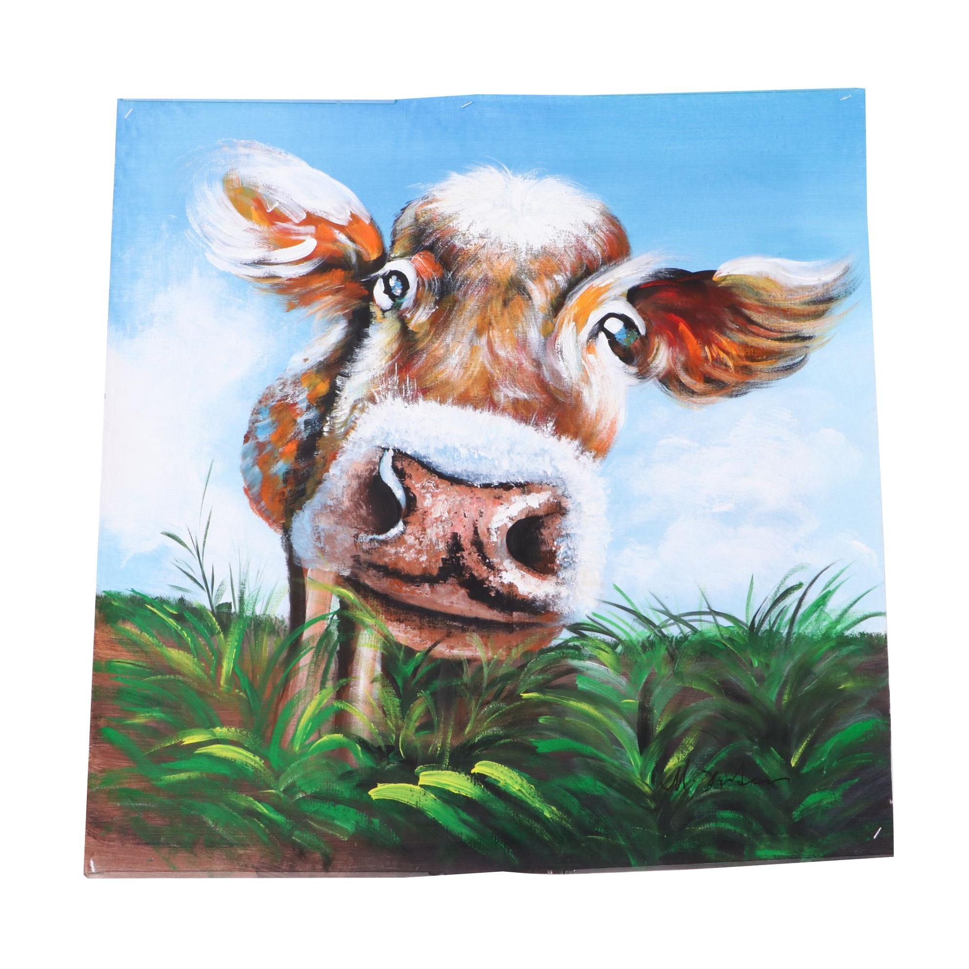 Mixed Media Painting of a Cow
