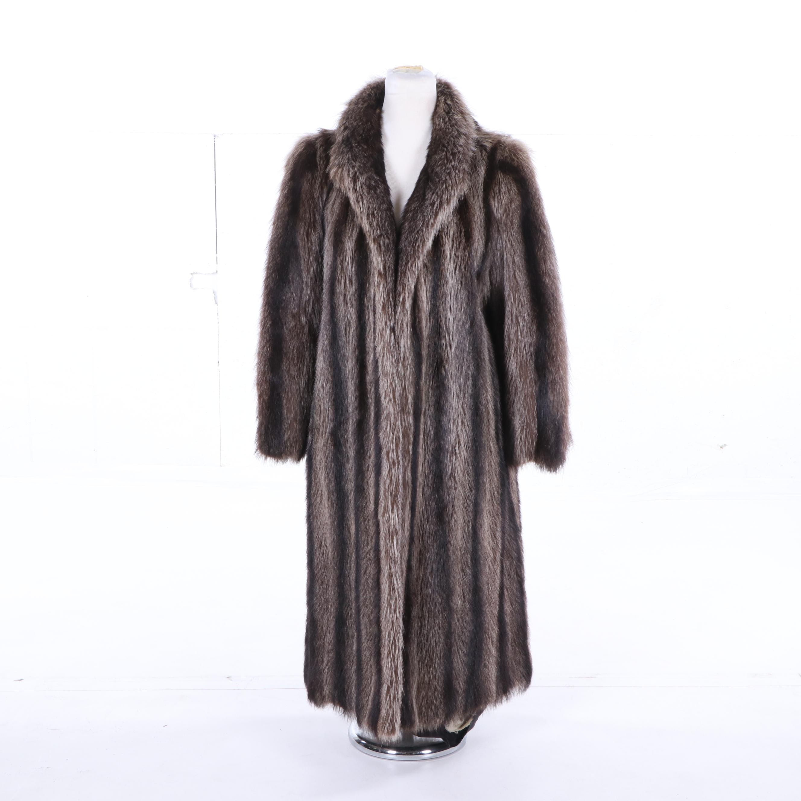 Women's Full-Length Raccoon Fur Coat