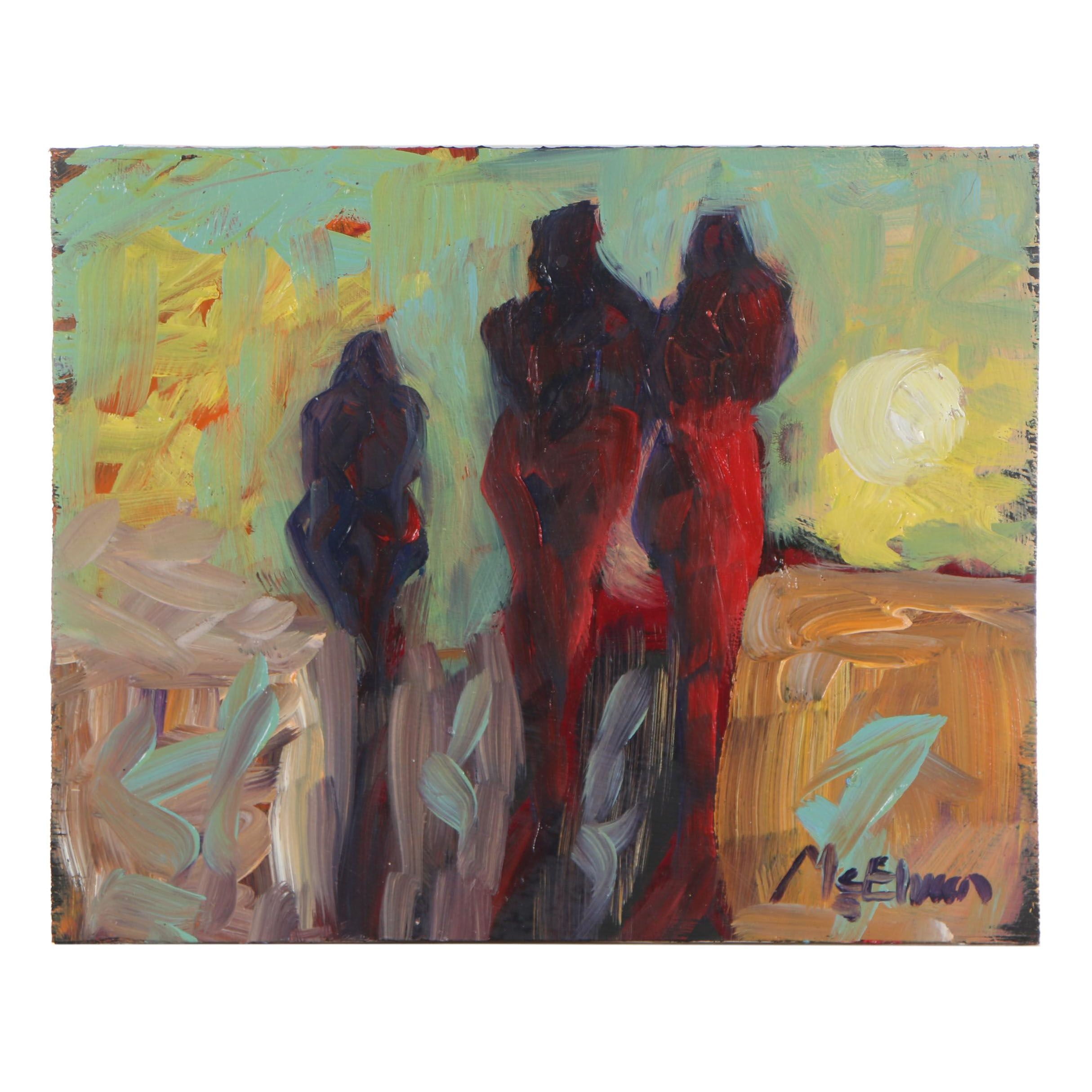 "Claire McElveen Abstract Oil Painting ""Morning Stroll"""