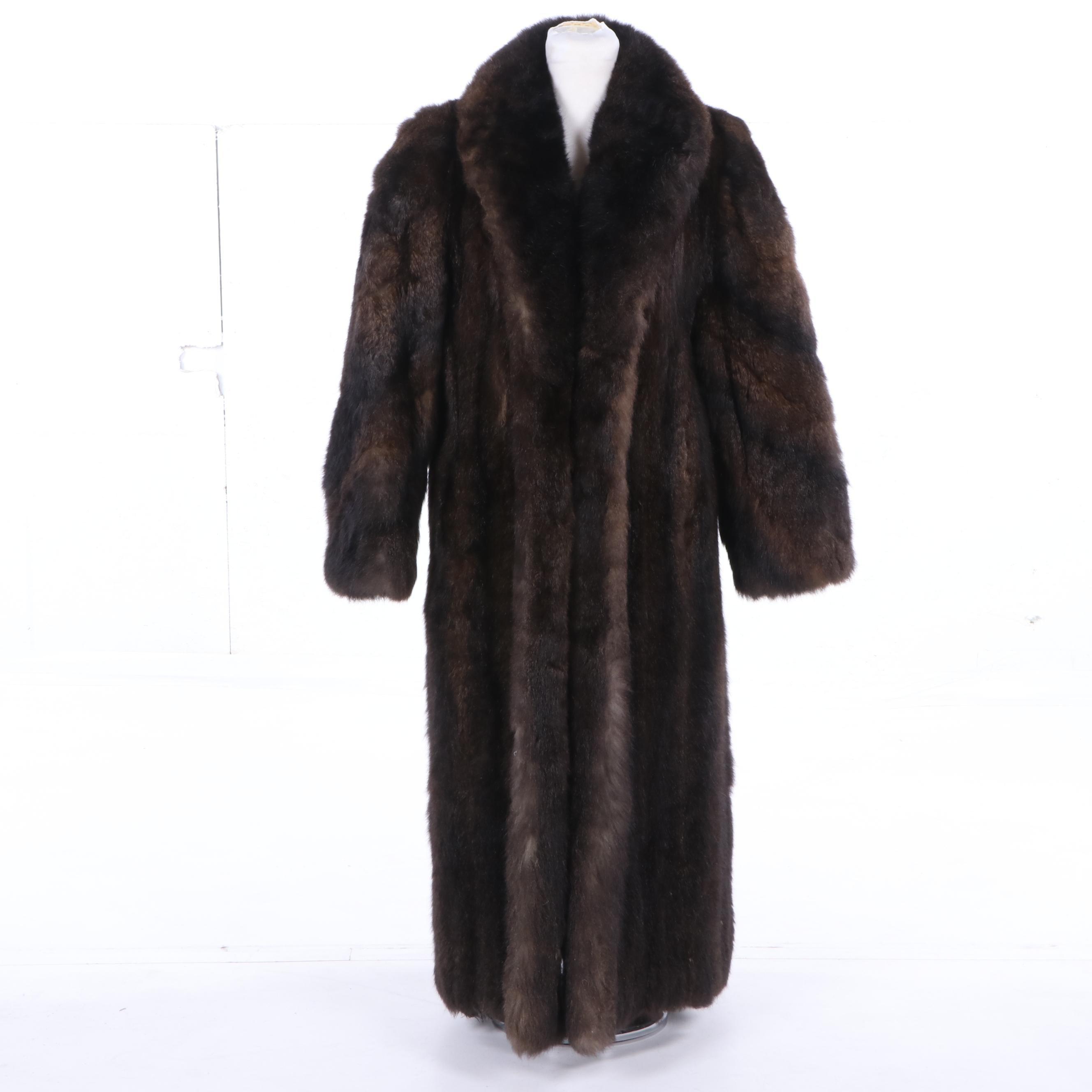 Women's Full-Length Opposum Fur Coat