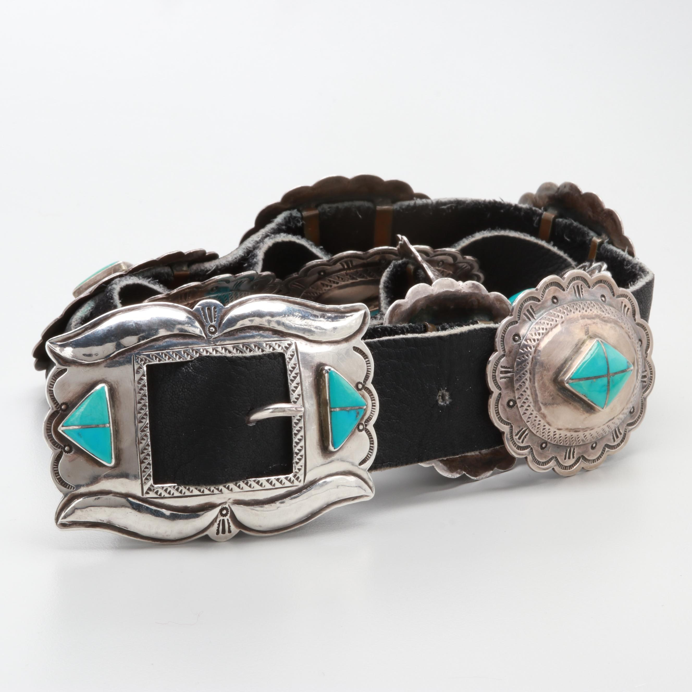 Marie Silver Navajo Diné Sterling Silver Turquoise and Leather Belt