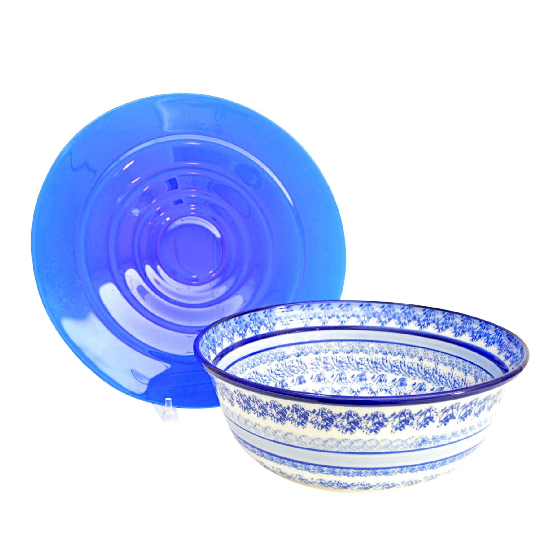 Blue Glass Platter and Terri Meyer Ceramic Bowl