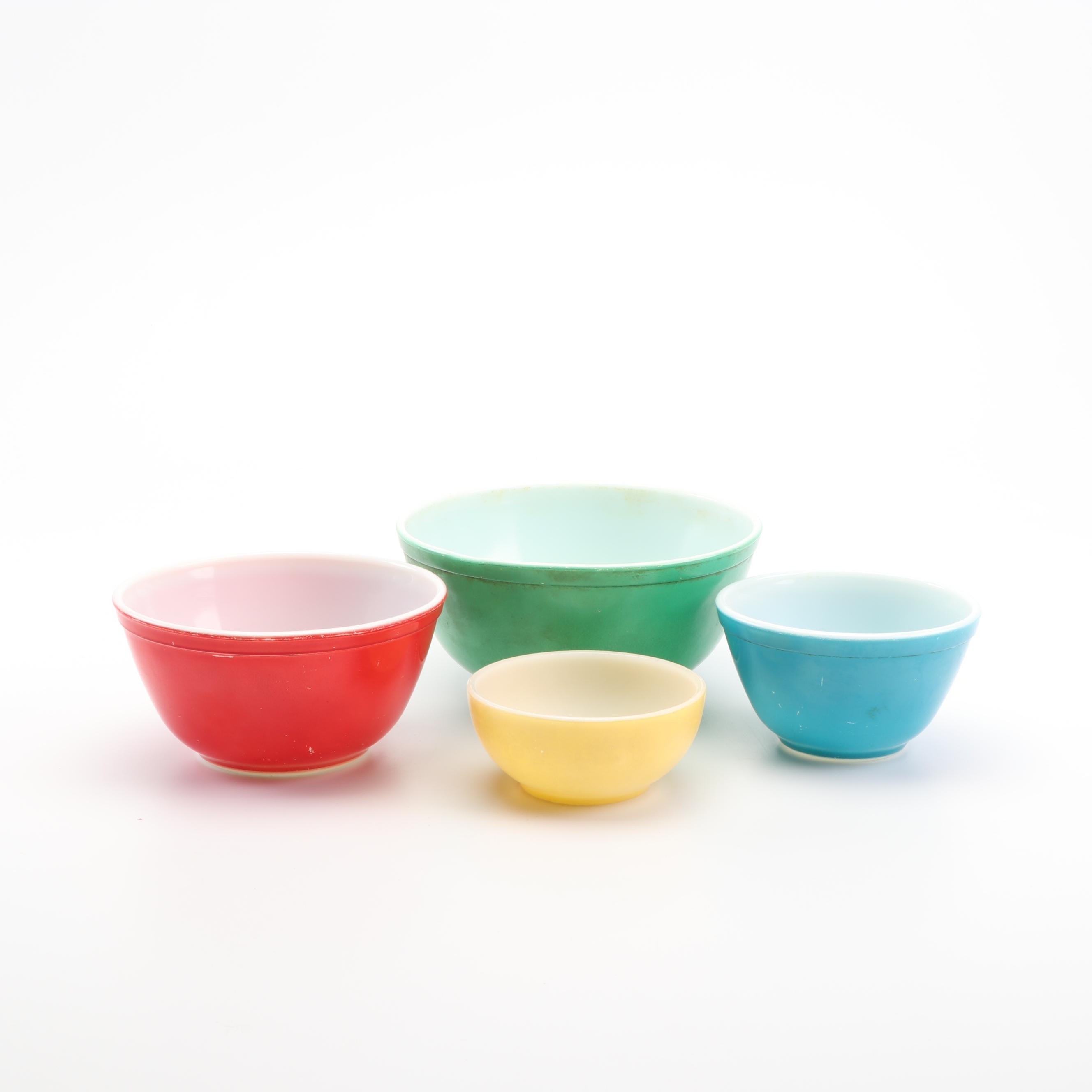 "Fire King and Pyrex ""Primary Colors"" Nesting Glass Mixing Bowls"