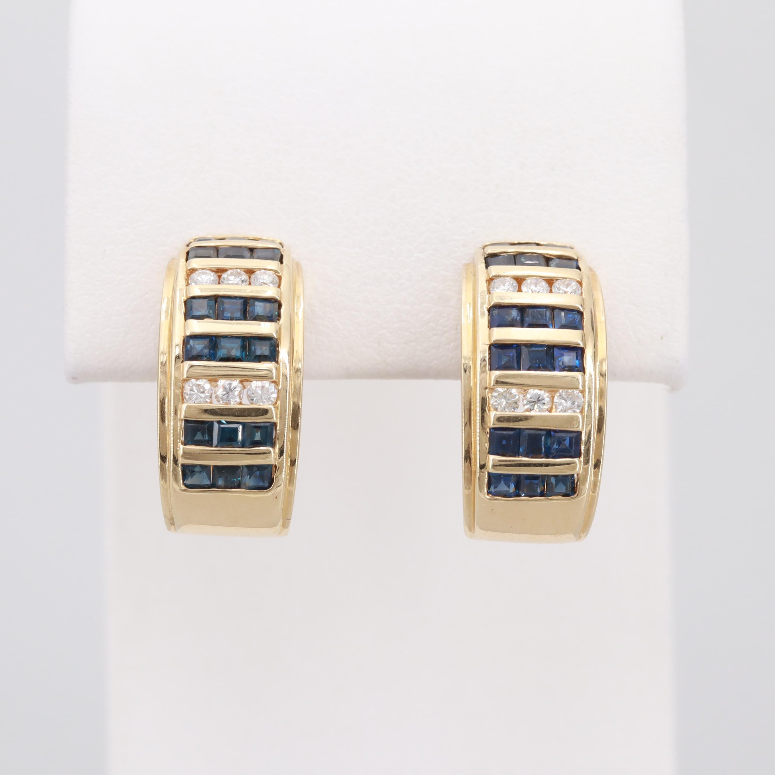 18K Yellow Gold Diamond and Blue Sapphire Earrings