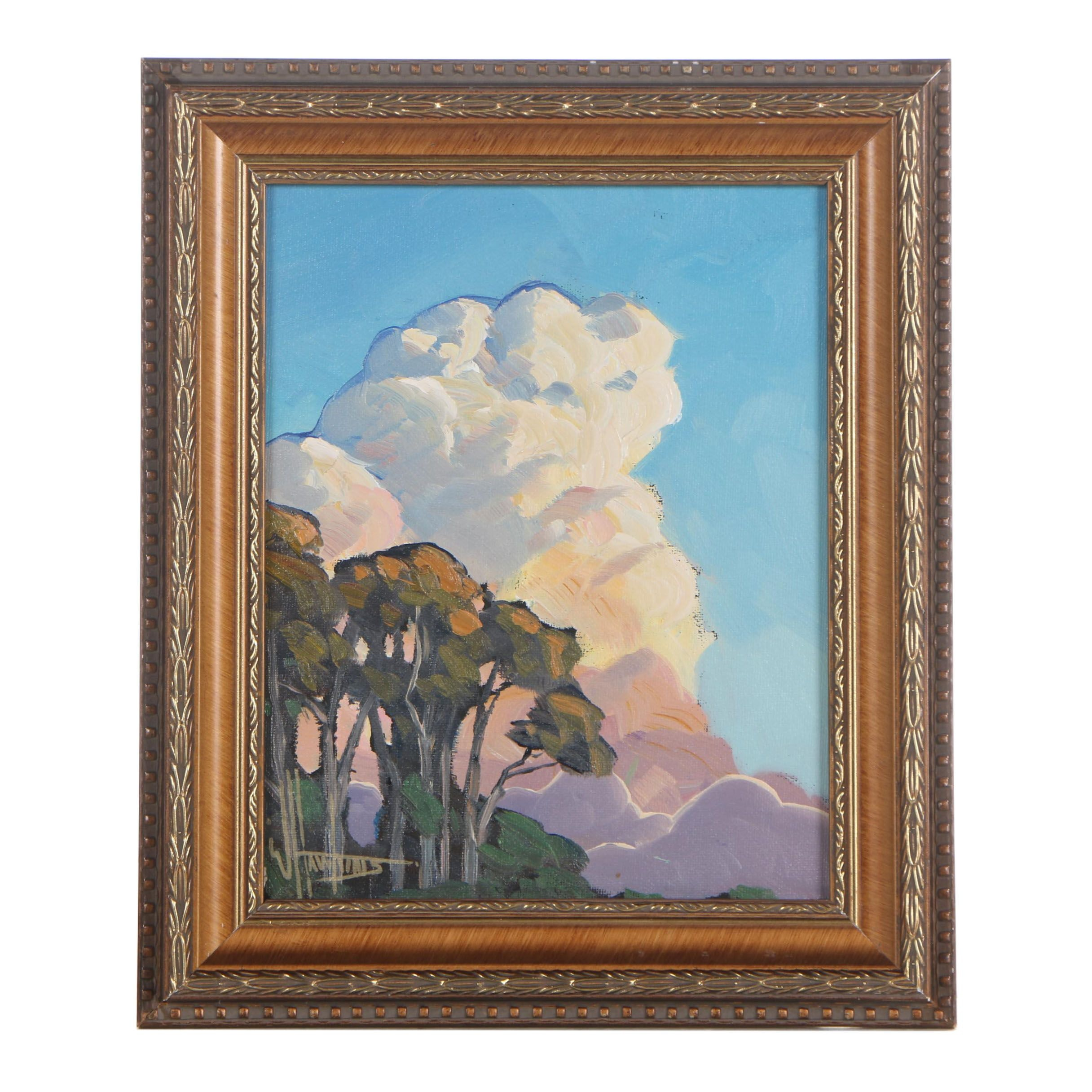 William Hawkins Abstract Landscape Oil Painting