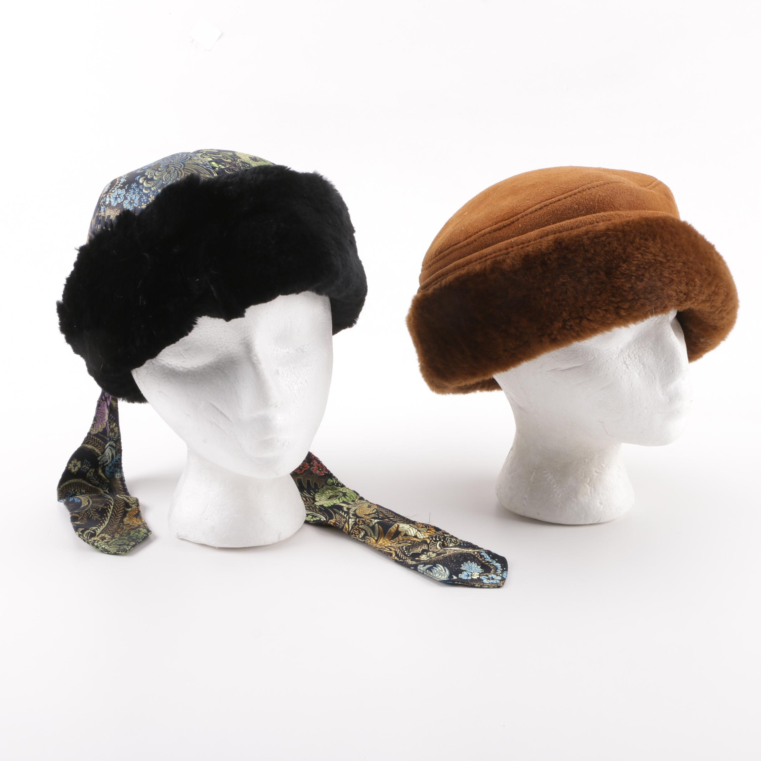 Women's Shearling and Sheared Beaver Fur Breton Hats including Scala Collezioni