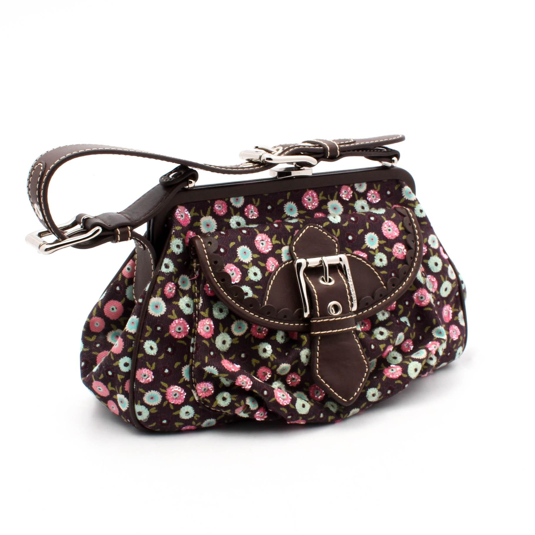 Isabella Fiore Floral Corduroy Frame and Brown Leather Shoulder Bag