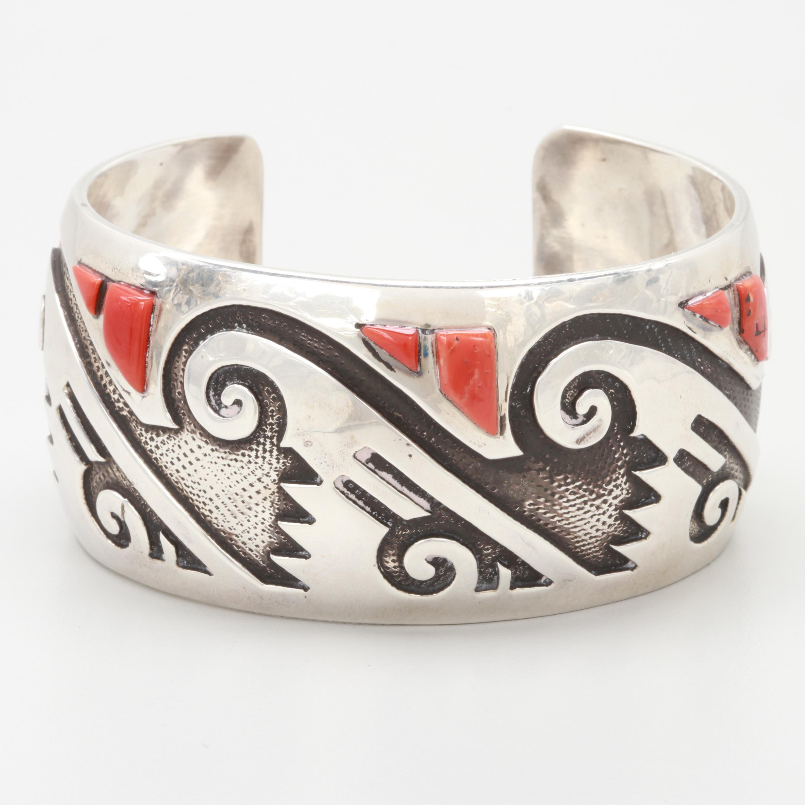 Hyson Craig Navajo Diné Sterling Silver Coral and Overlay Cuff Bracelet