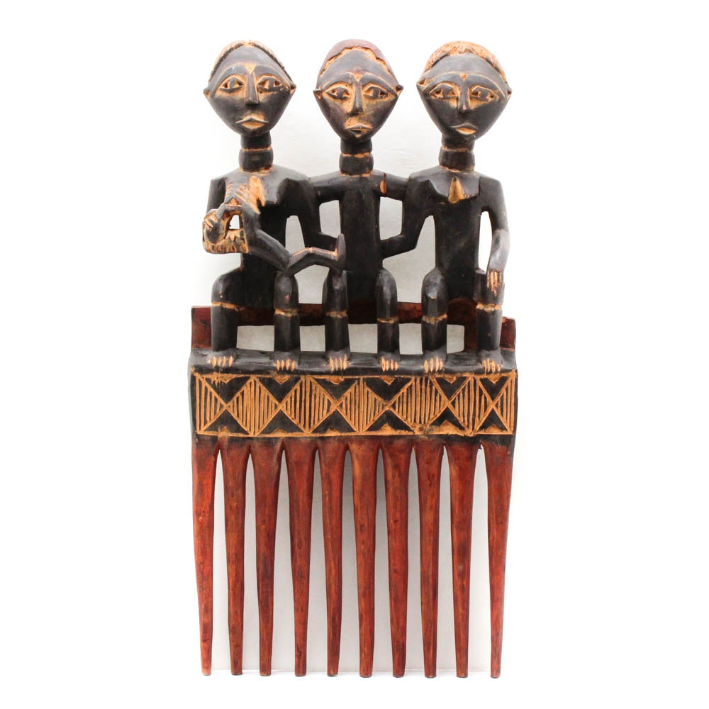 Hand Carved African Three Figure Sculpture