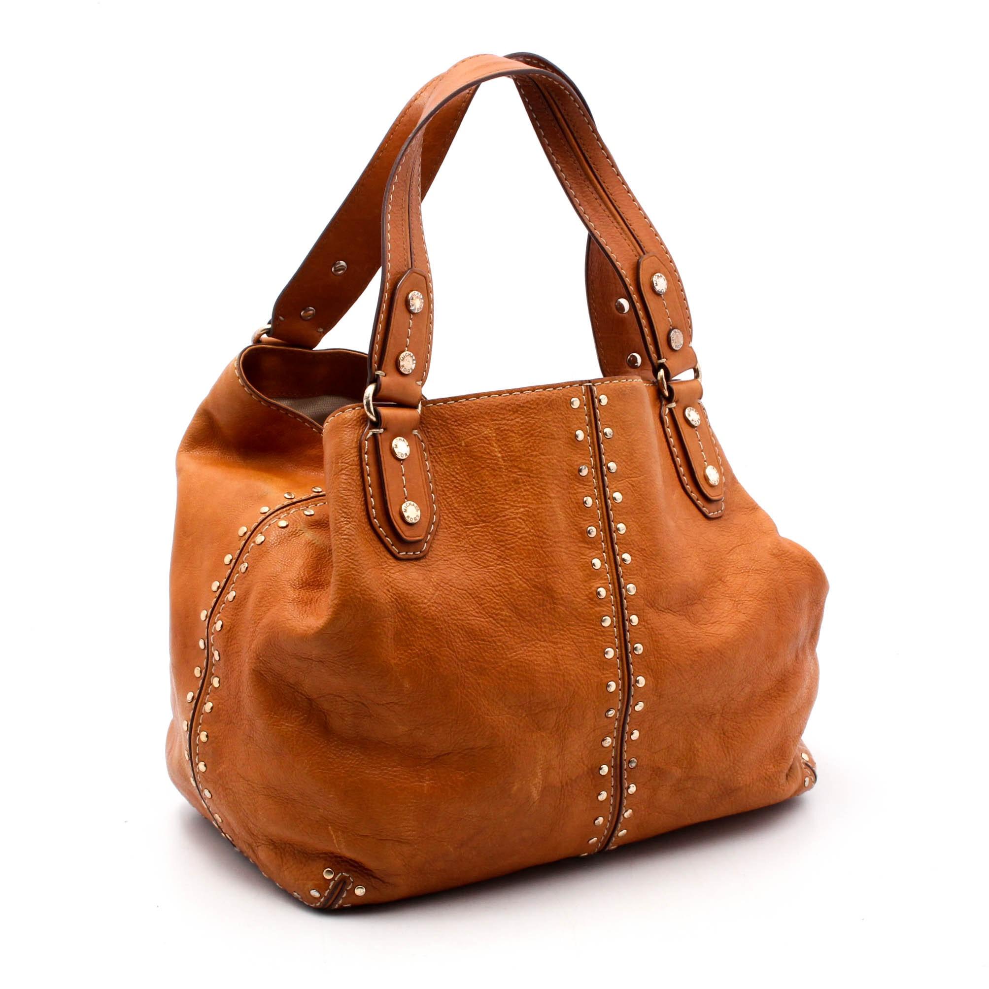 MICHAEL Michael Kors Studded Cognac Leather Hobo Handbag