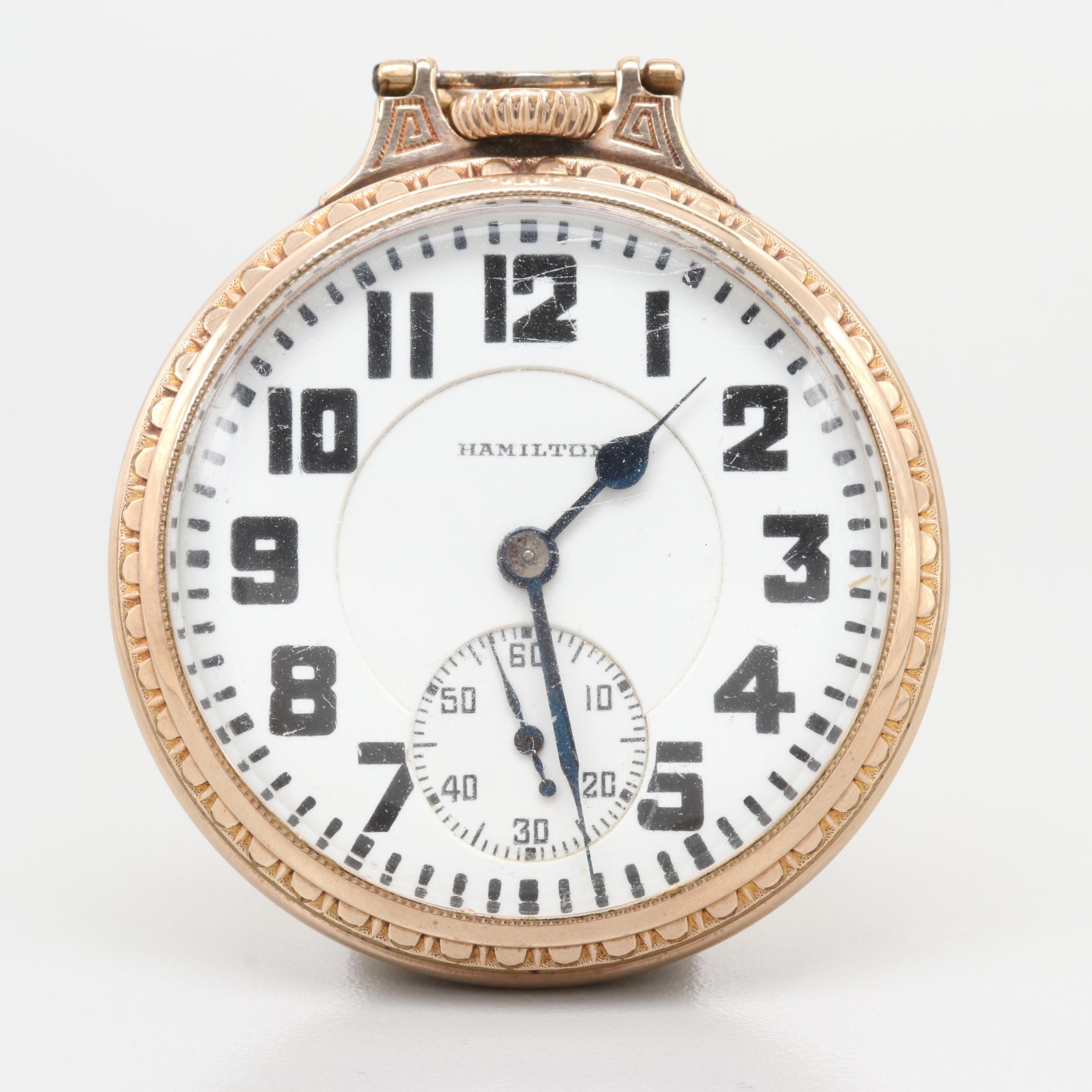 Hamilton Railroad Grade Vintage Gold Filled Pocket Watch, 1926