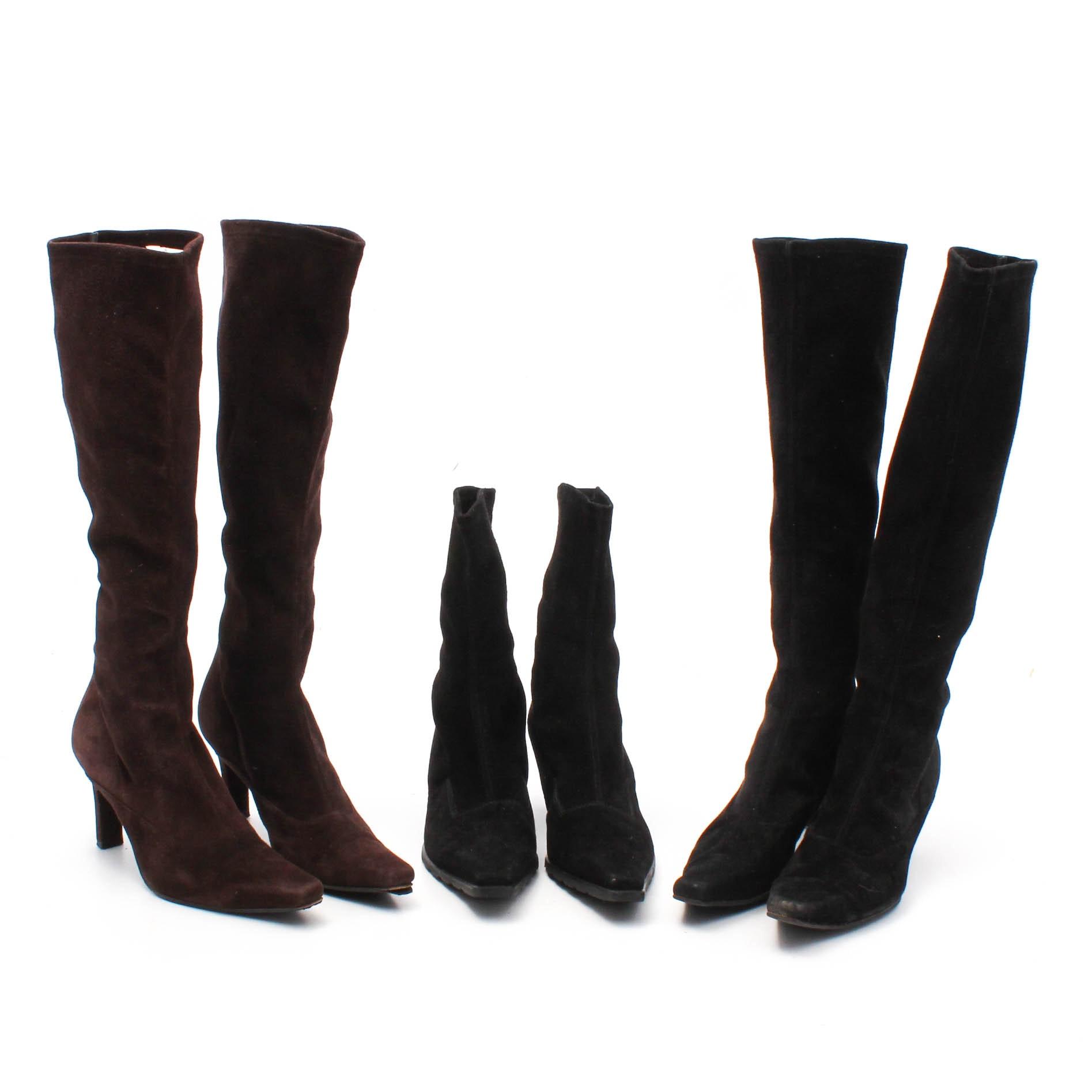 Three Pairs of Stuart Weitzman Suede Heeled Boots