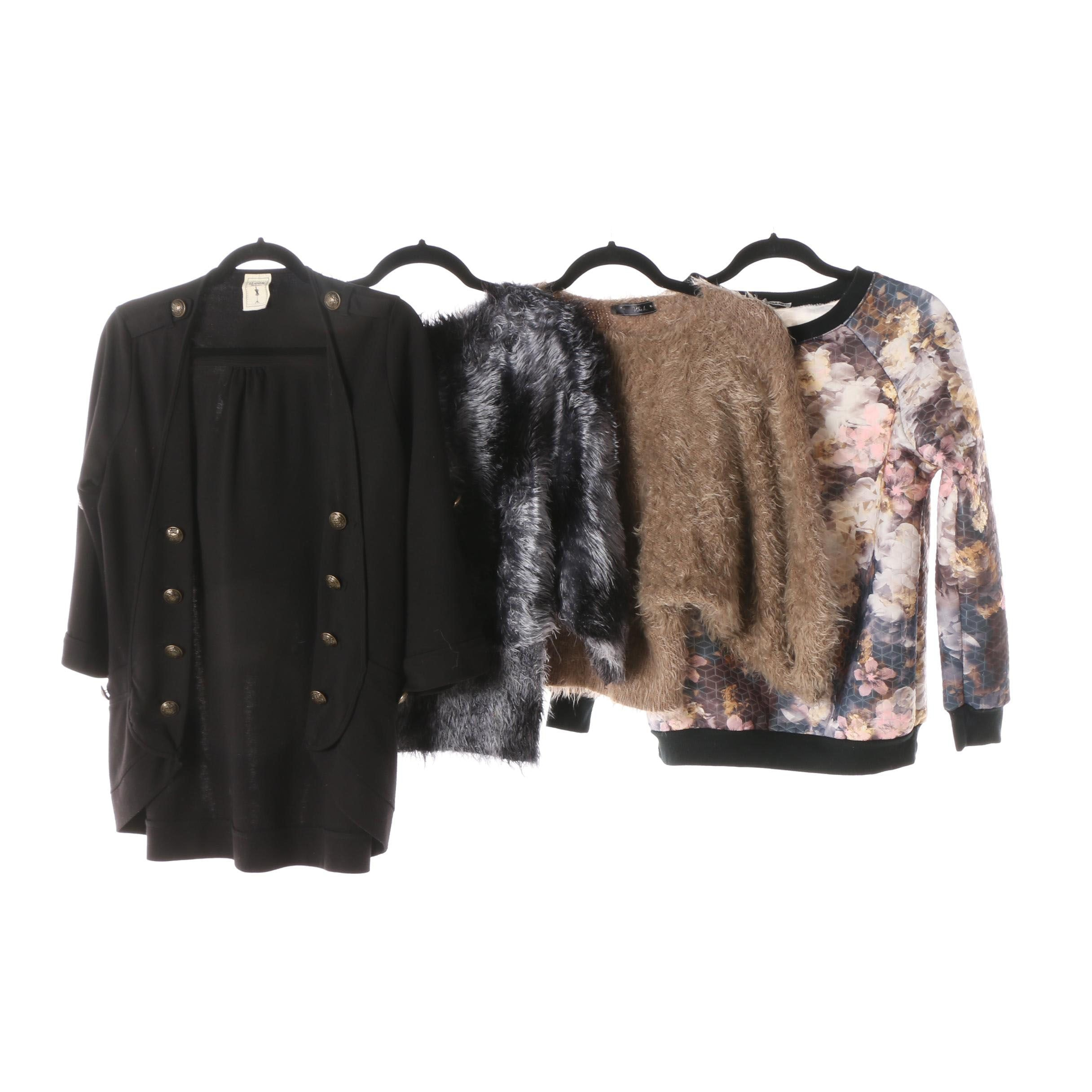 Women's Fuzzy Sweaters, Floral Sweatshirts and Black Cardigan