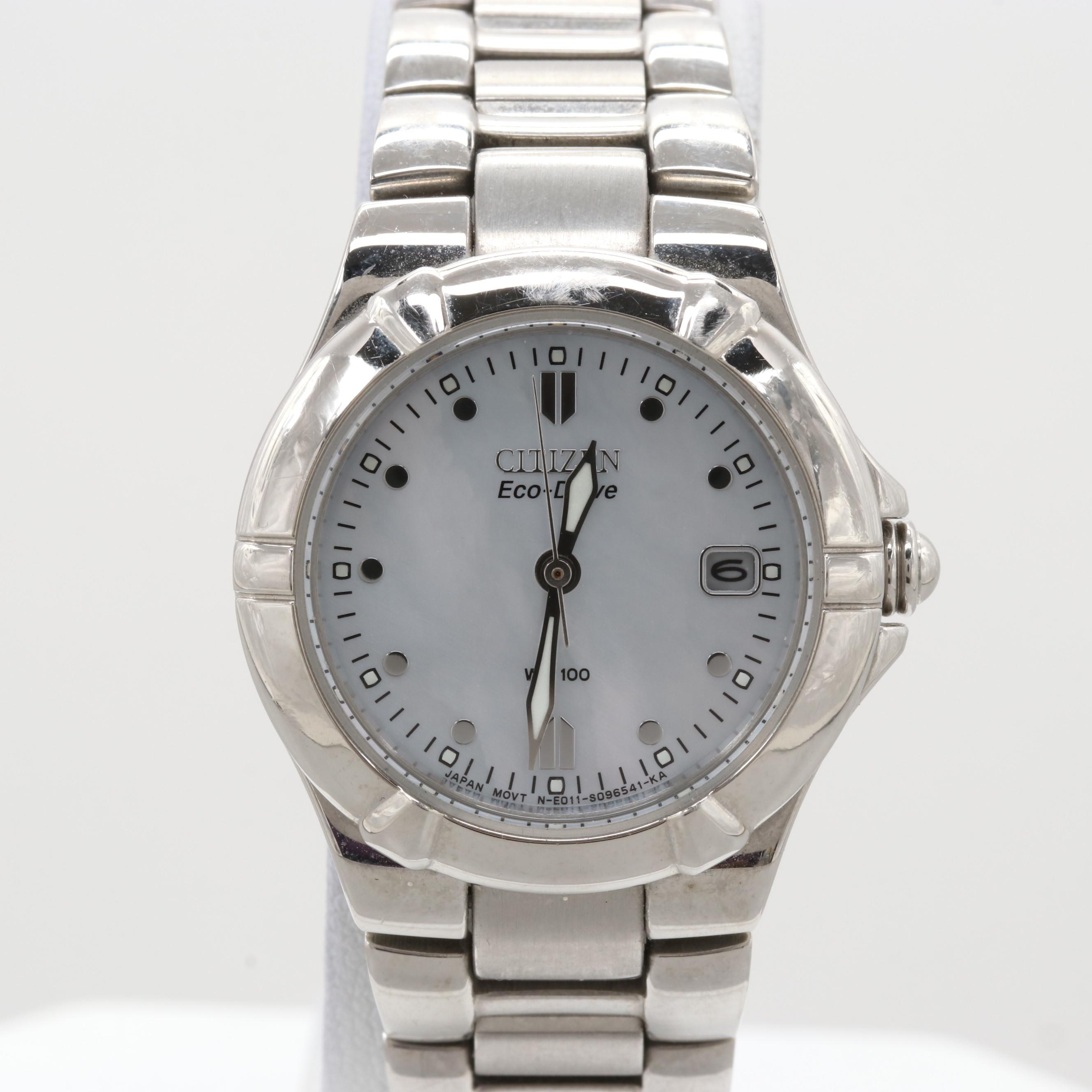 Citizen Eco-Drive Stainless Steel Wristwatch With Mother of Pearl Dial