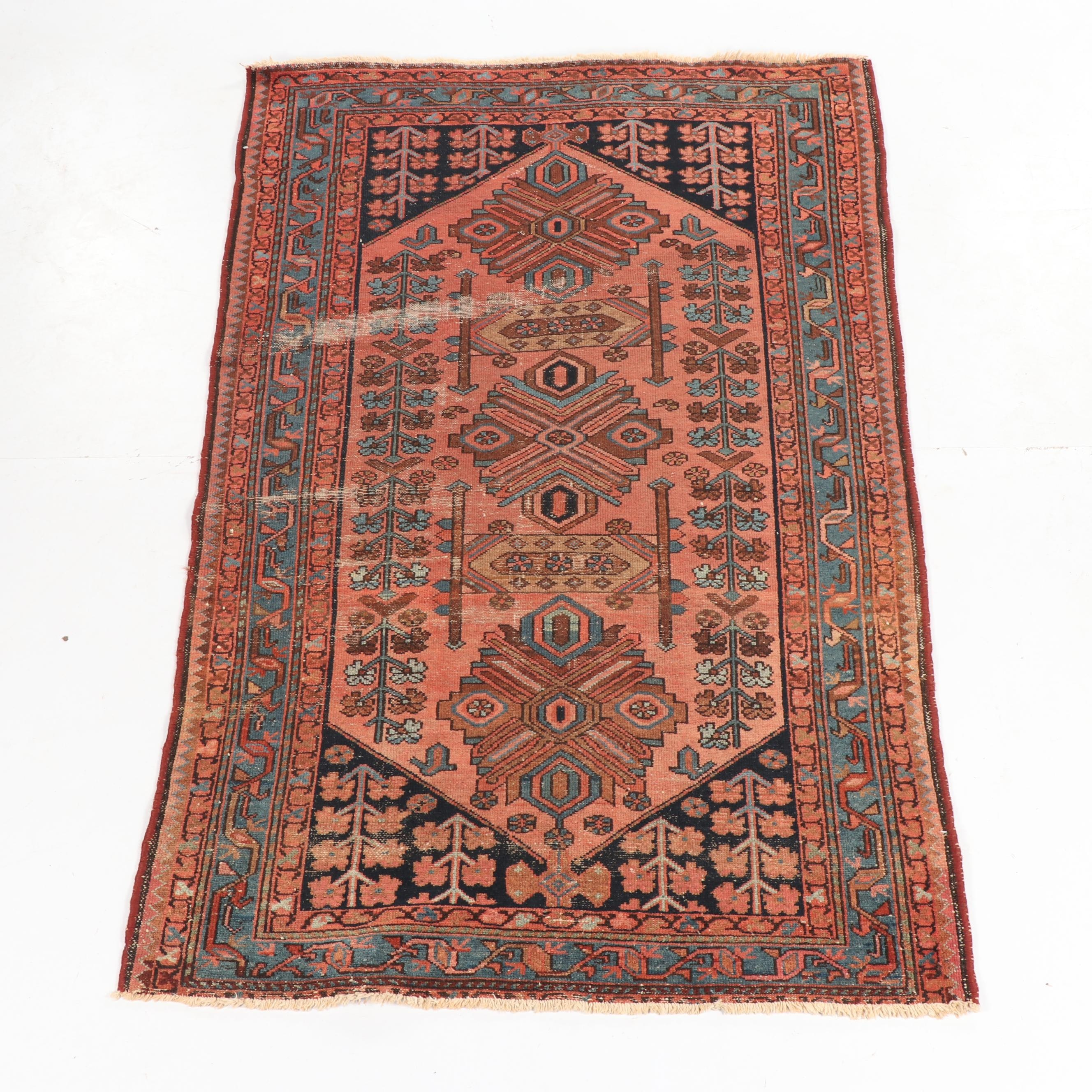 Antique Hand-Knotted Persian Bakshaish Wool Rug