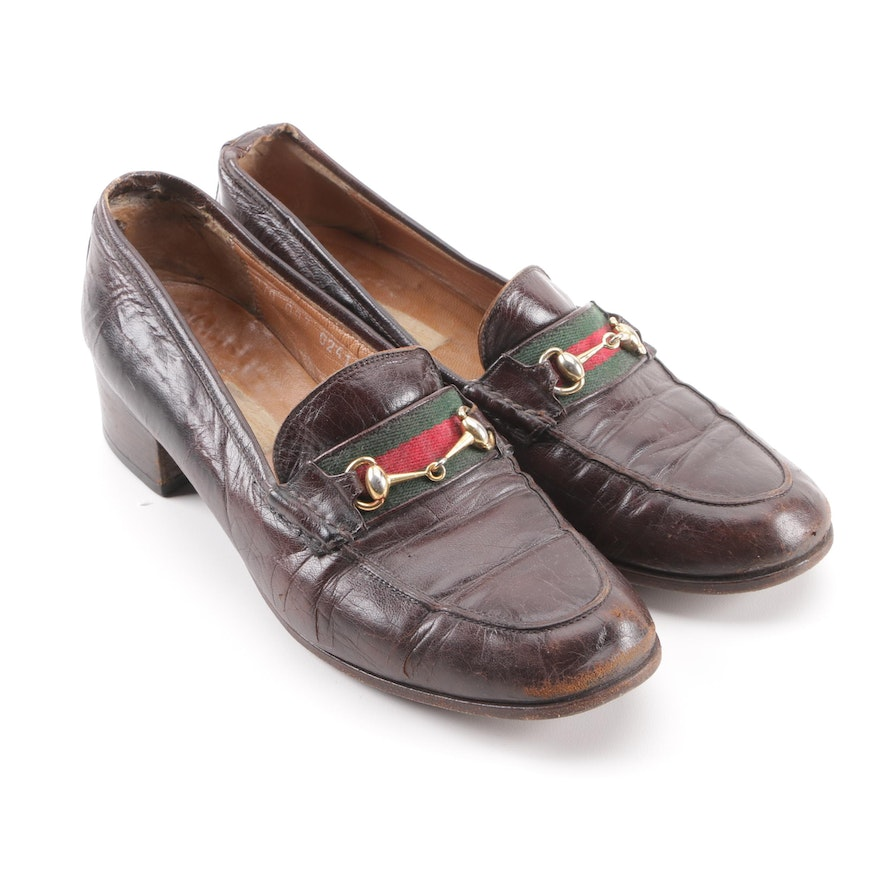 819be537f Women's Vintage Gucci Brown Leather Web Stripe Horsebit Loafers | EBTH