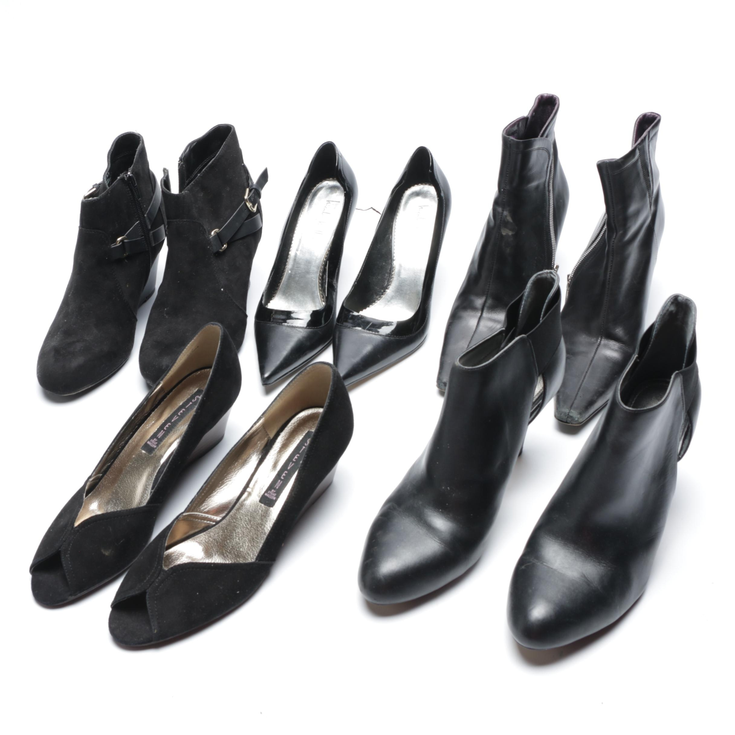 Black Leather and Suede Booties and Heels from Donald J. Pliner, Steven and More