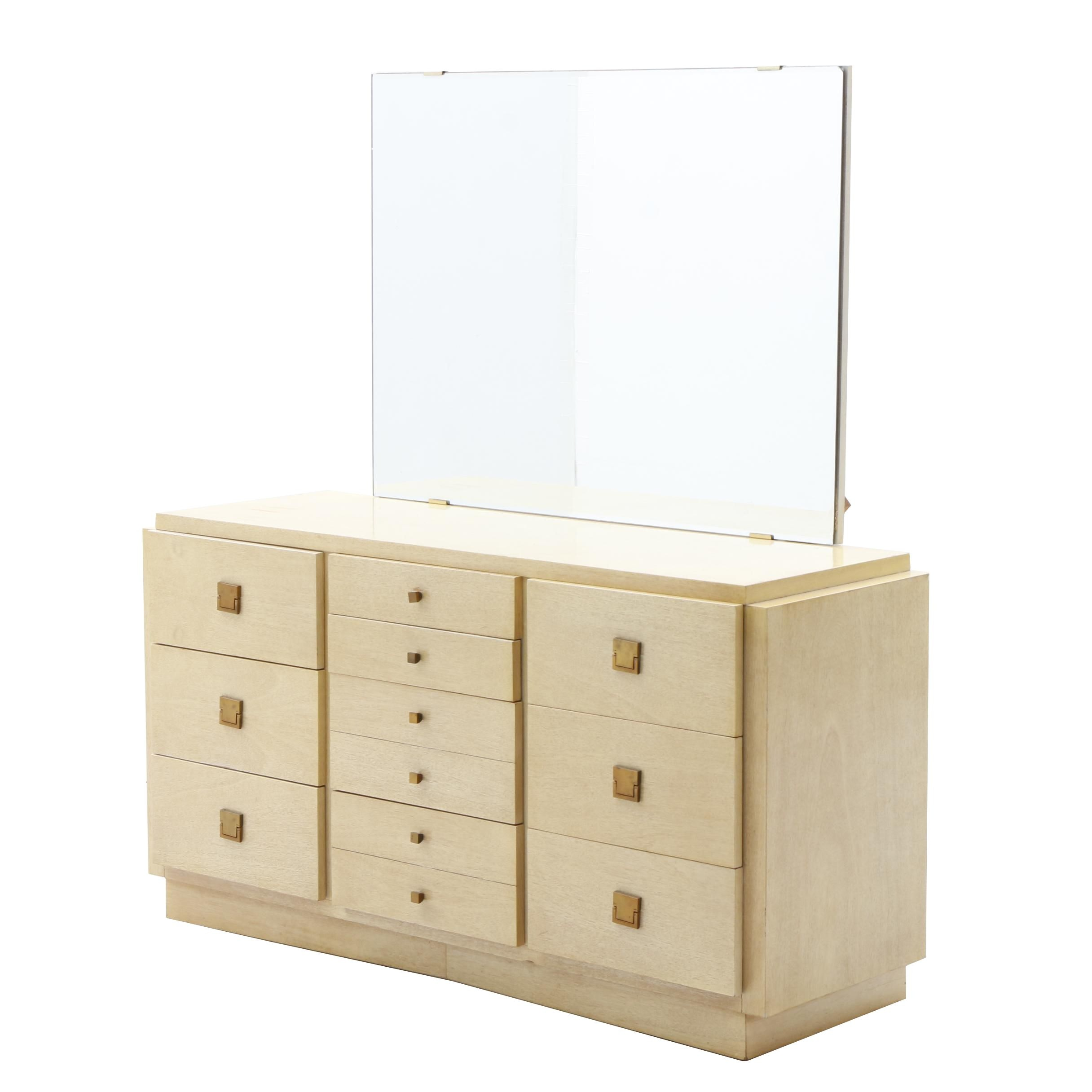 Mid-Century Modern Blonde Wood Chest and Mirror by American of Martinsville