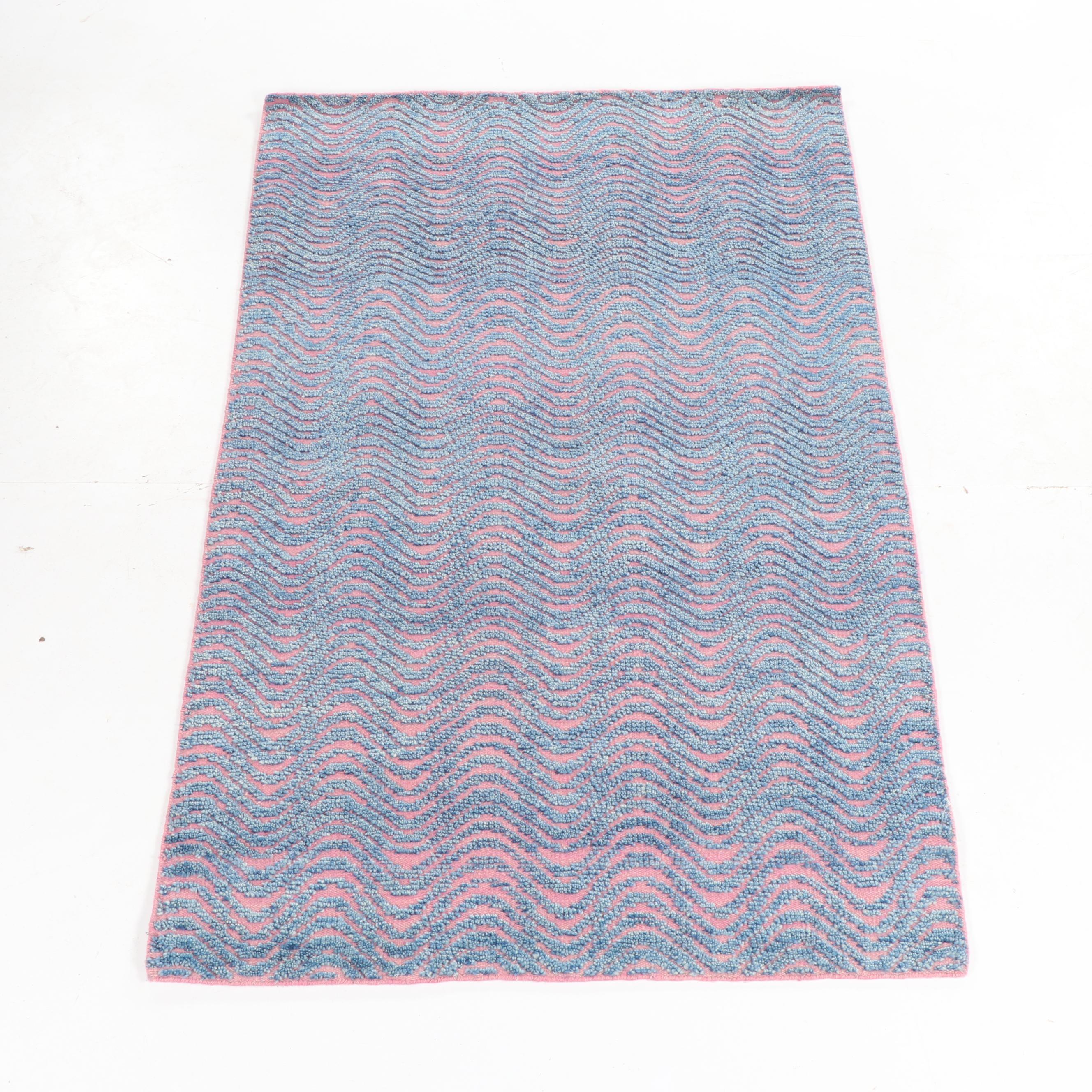 "Handwoven Indian ""Moroccan"" Textured Wool Rug"