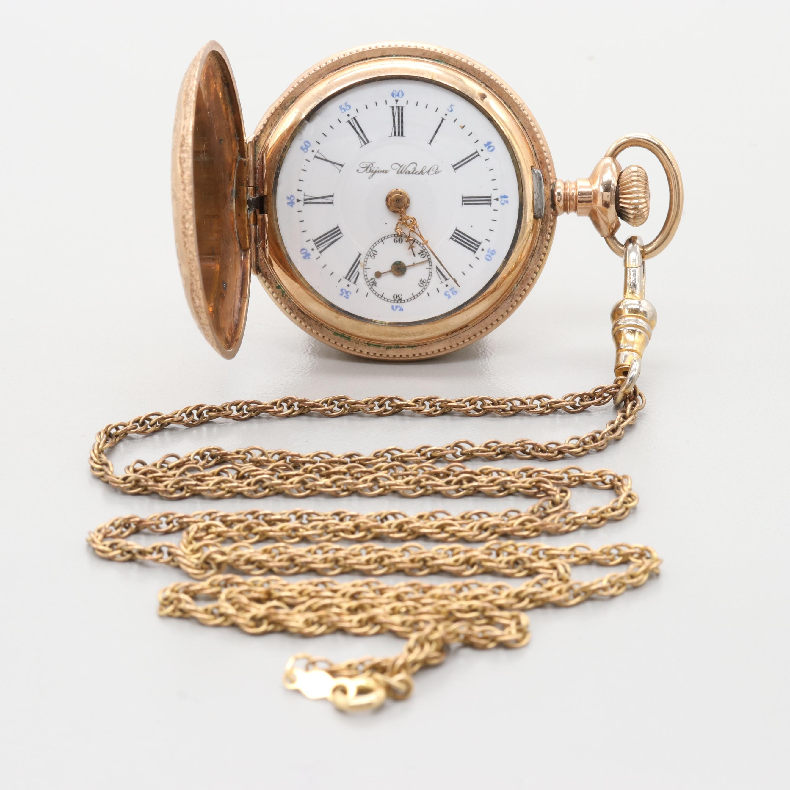 Swiss Gold Filled Hunting Case Pendant Pocket Watch