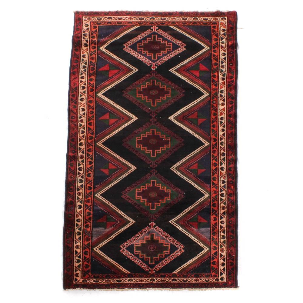 Vintage Hand-Knotted Persian Karaja Heriz Long Rug