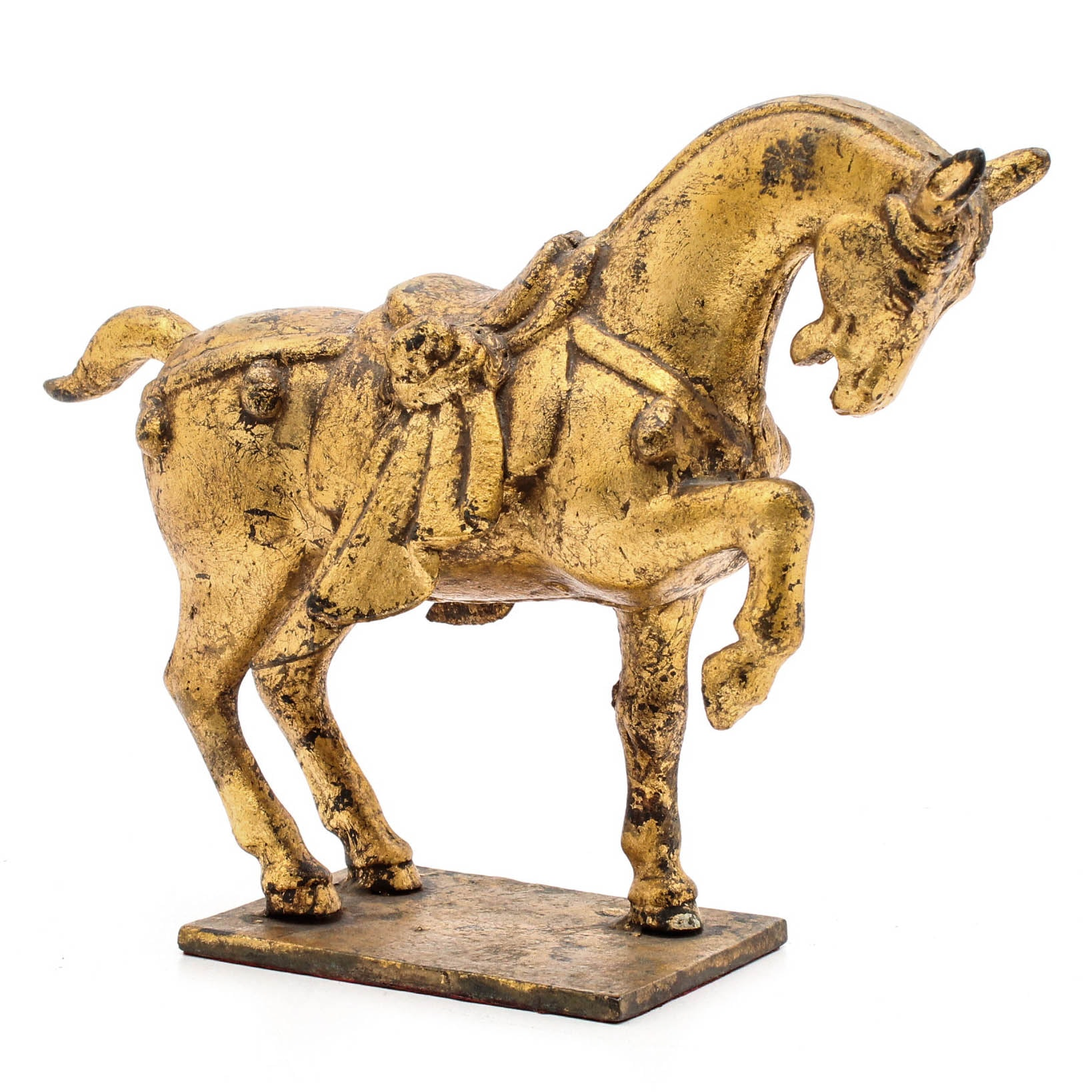 Chinese Gilt Cast Iron Tang Style Horse Sculpture