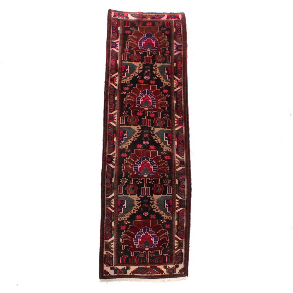 Vintage Hand-Knotted Persian Qashqai Carpet Runner