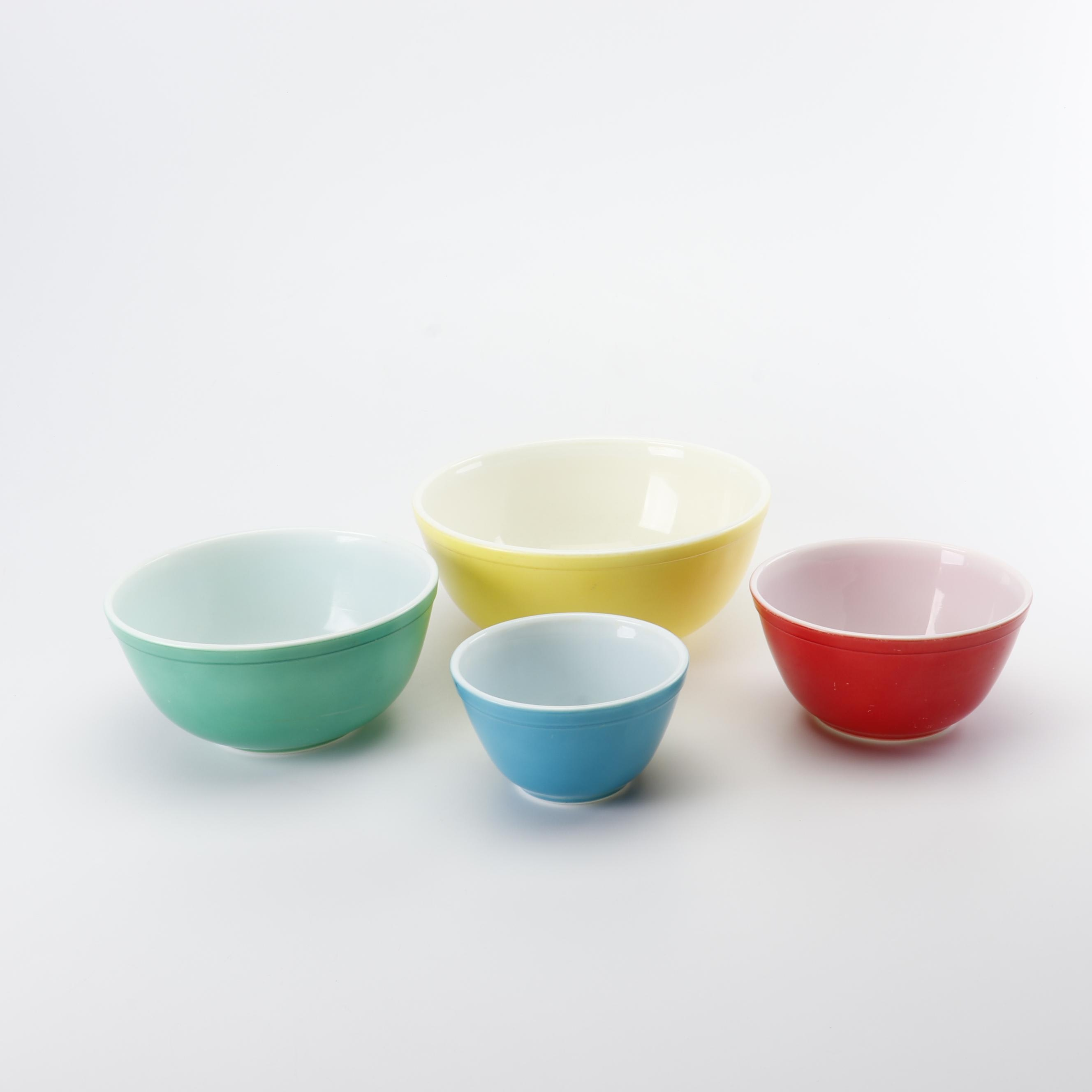 "Pyrex ""Primary Colors"" Nesting Glass Mixing Bowls, 1945-49"