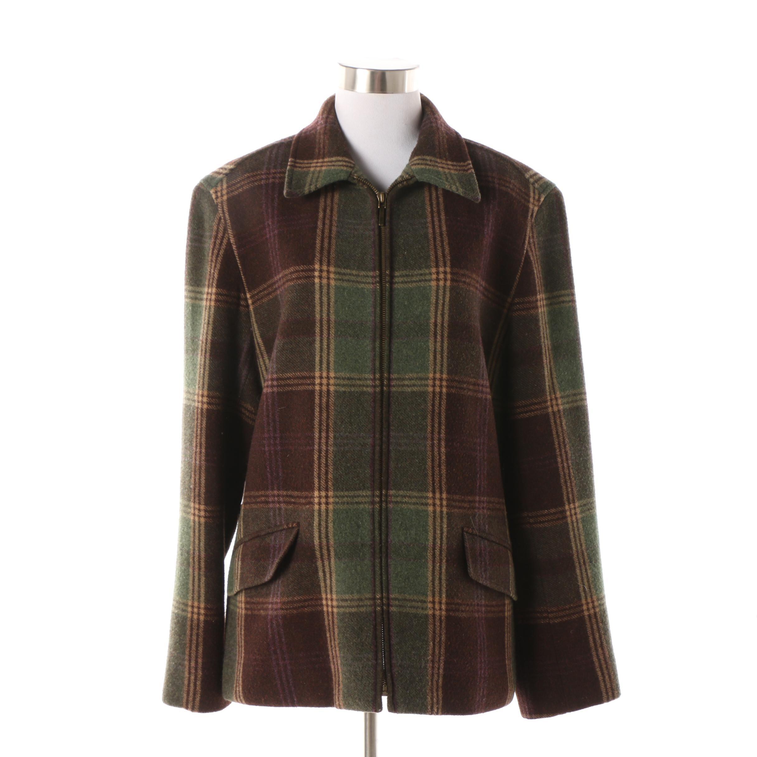 Women's Lauren Ralph Lauren Plaid Wool Zip Jacket