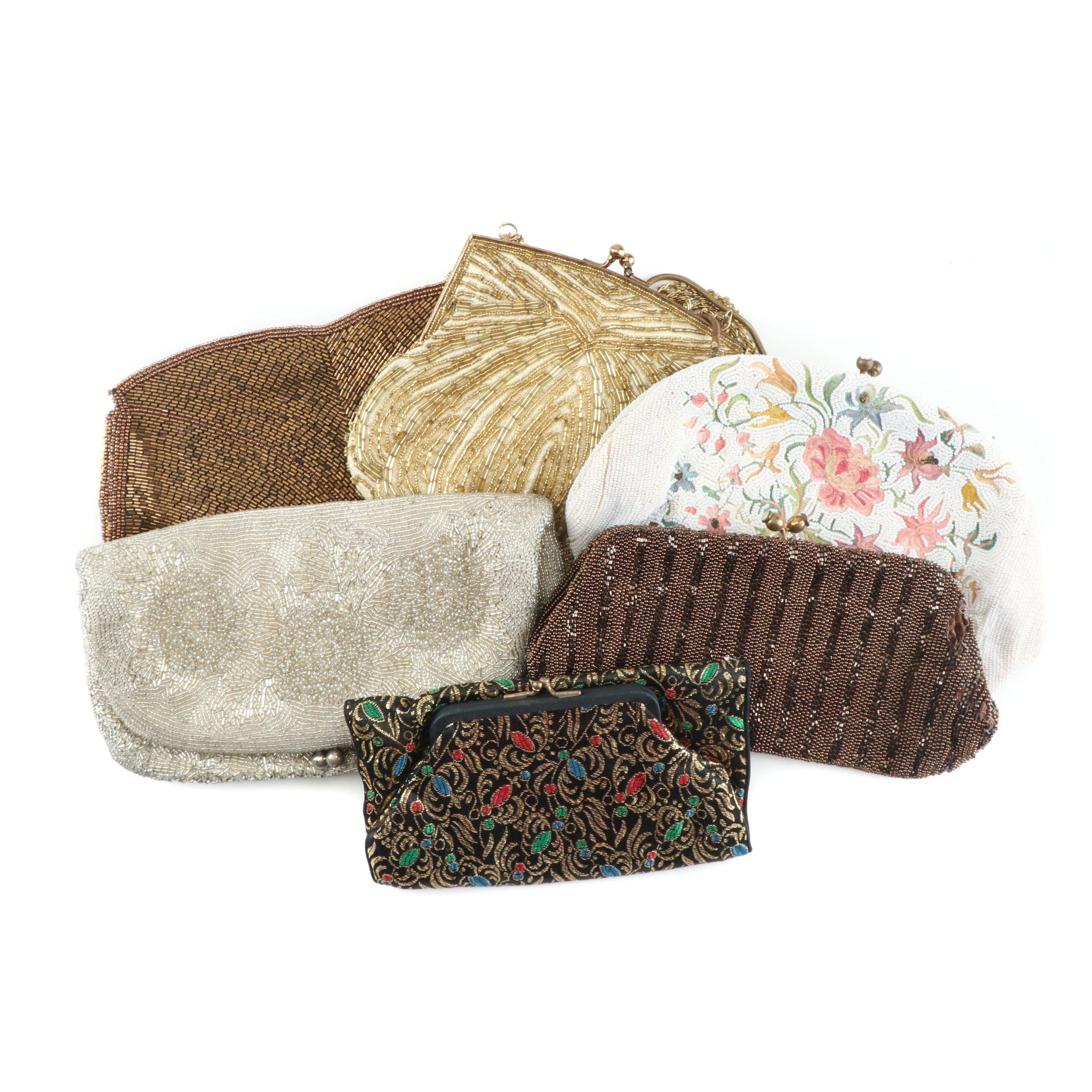 Vintage Beaded Clutch Evening Bags and Jacquard Clutch