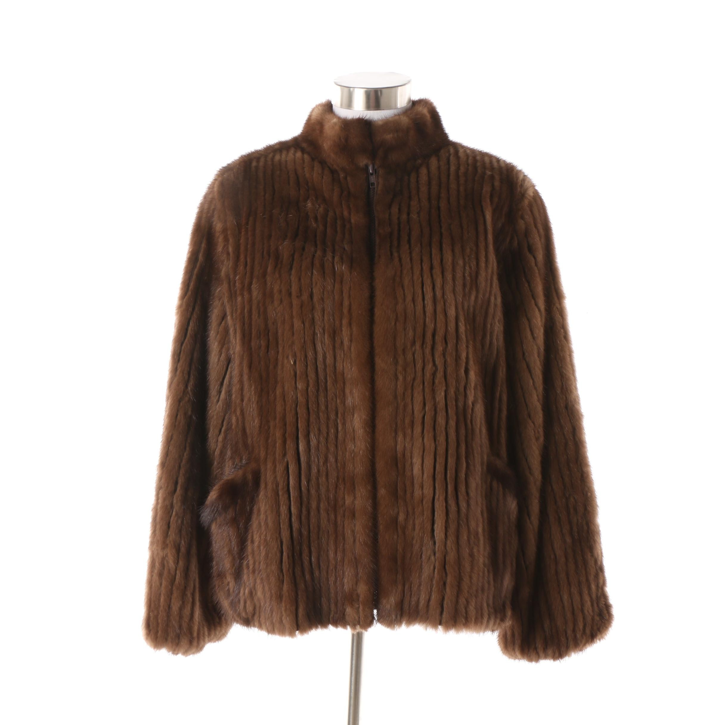 Women's Vintage Brown Mink Fur Jacket