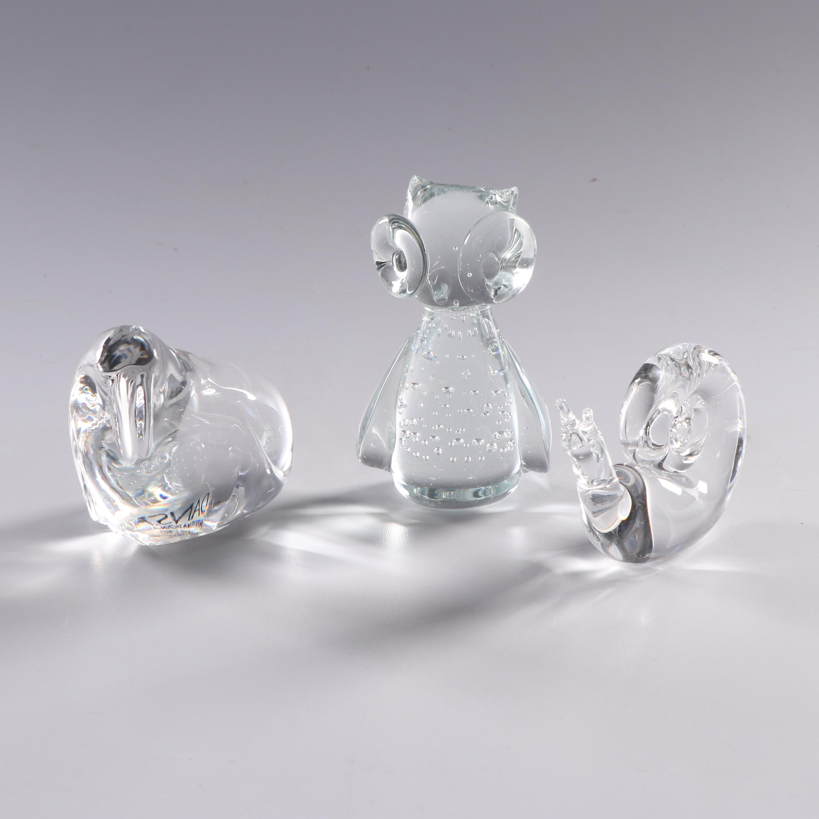 Steuben Glass and Dansk Crystal Animal Figurines